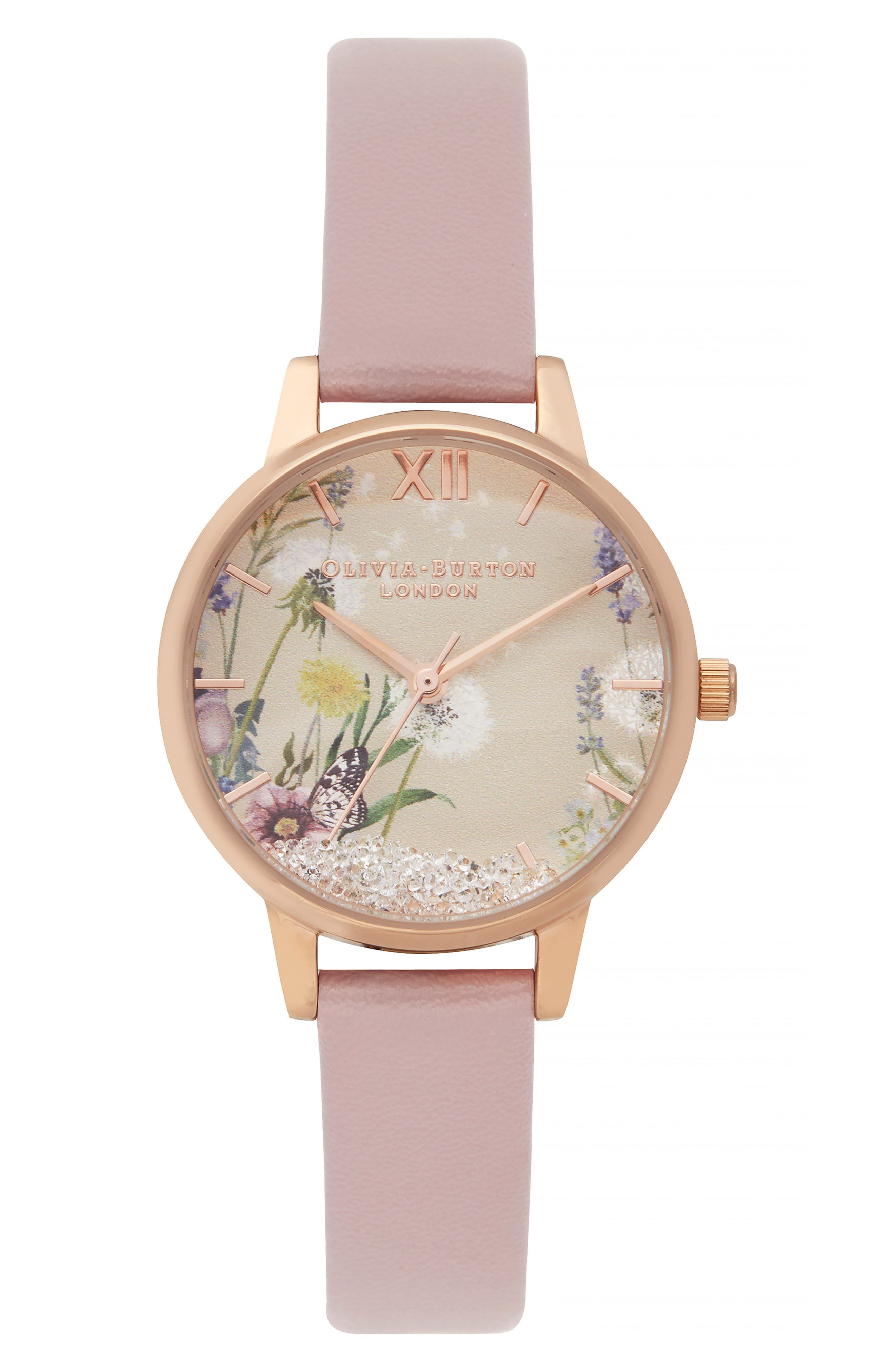OLIVIA BURTON,                             Wishing Leather Strap Watch, 35mm,                             Main thumbnail 1, color,                             ROSE SAND/SILVER FLOR/ROSEGOLD