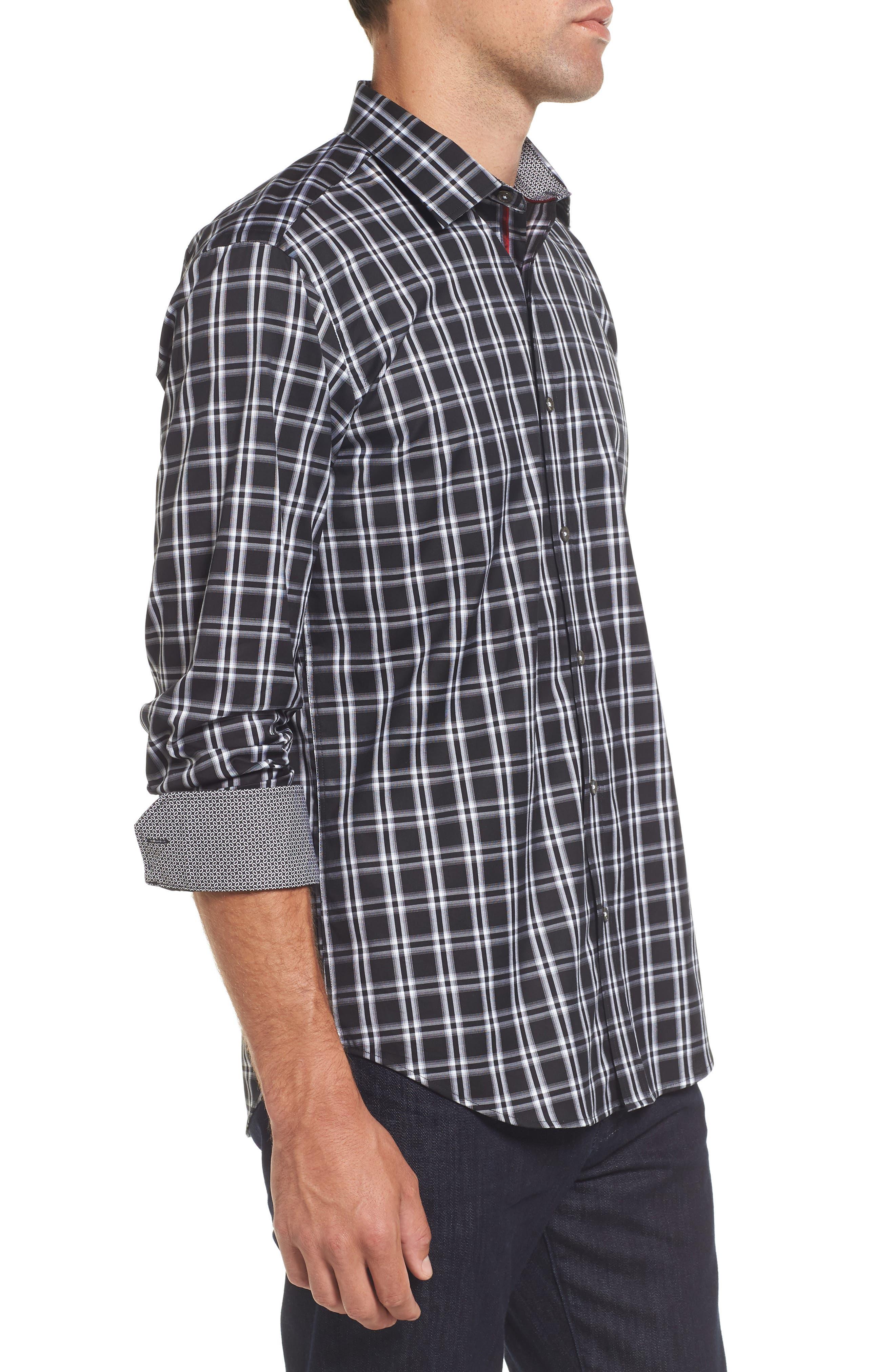 Slim Fit Check Sport Shirt,                             Alternate thumbnail 3, color,                             001
