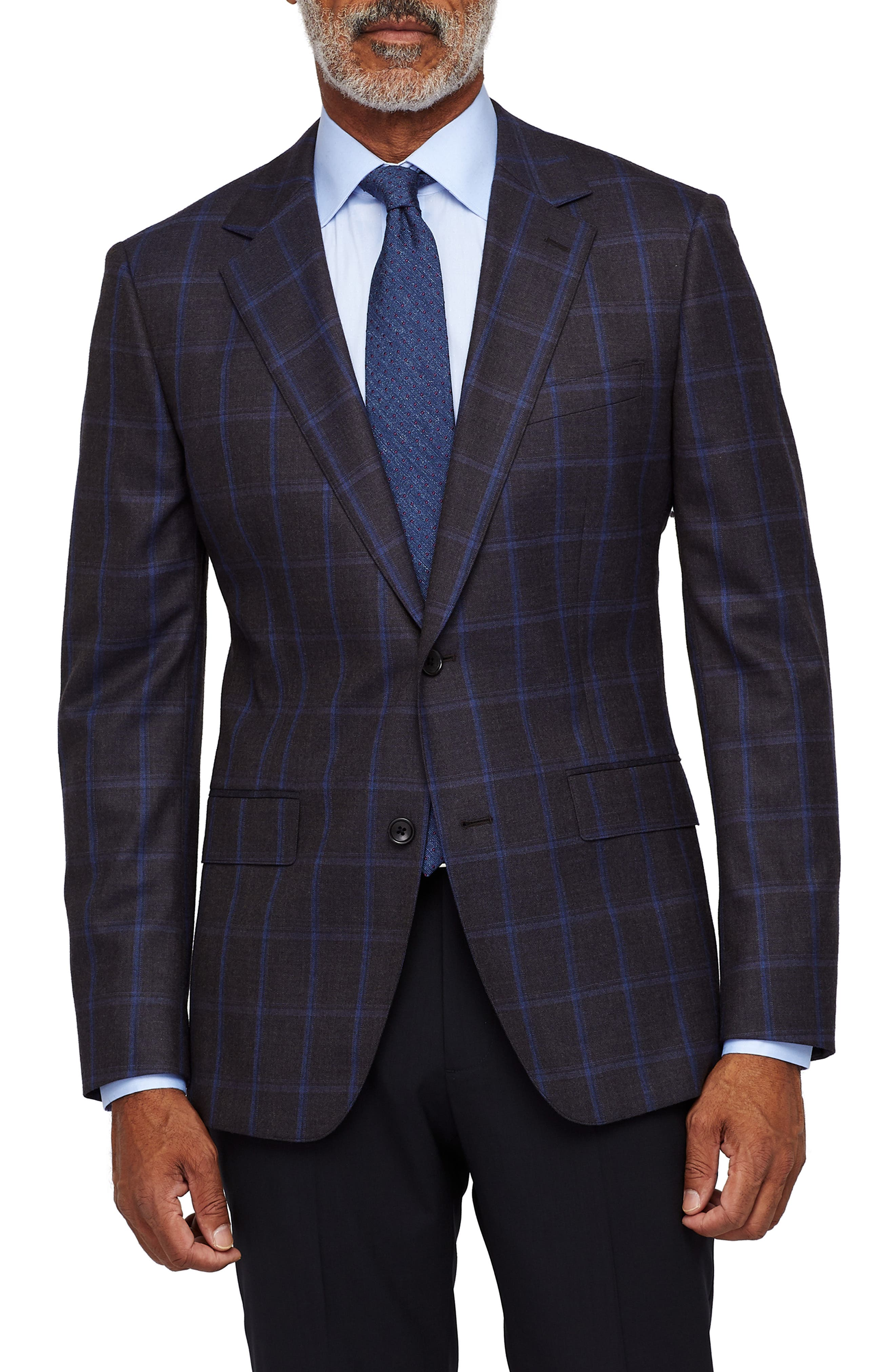 Jetsetter Stretch Wool Blazer,                             Main thumbnail 1, color,                             BLUE AND SLATE WINDOWPANE