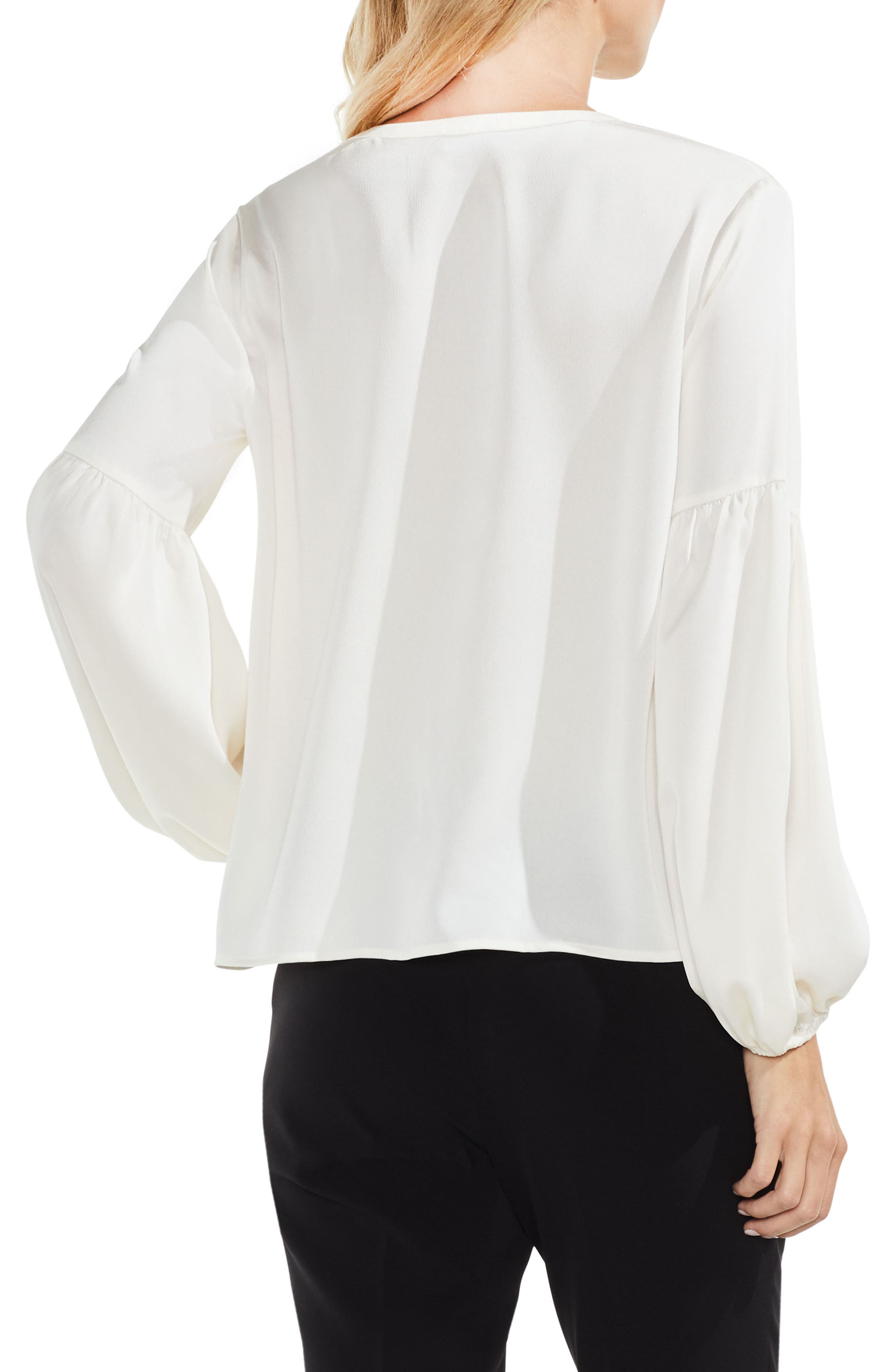 Lace-Up Hammered Satin Blouse,                             Alternate thumbnail 2, color,                             108