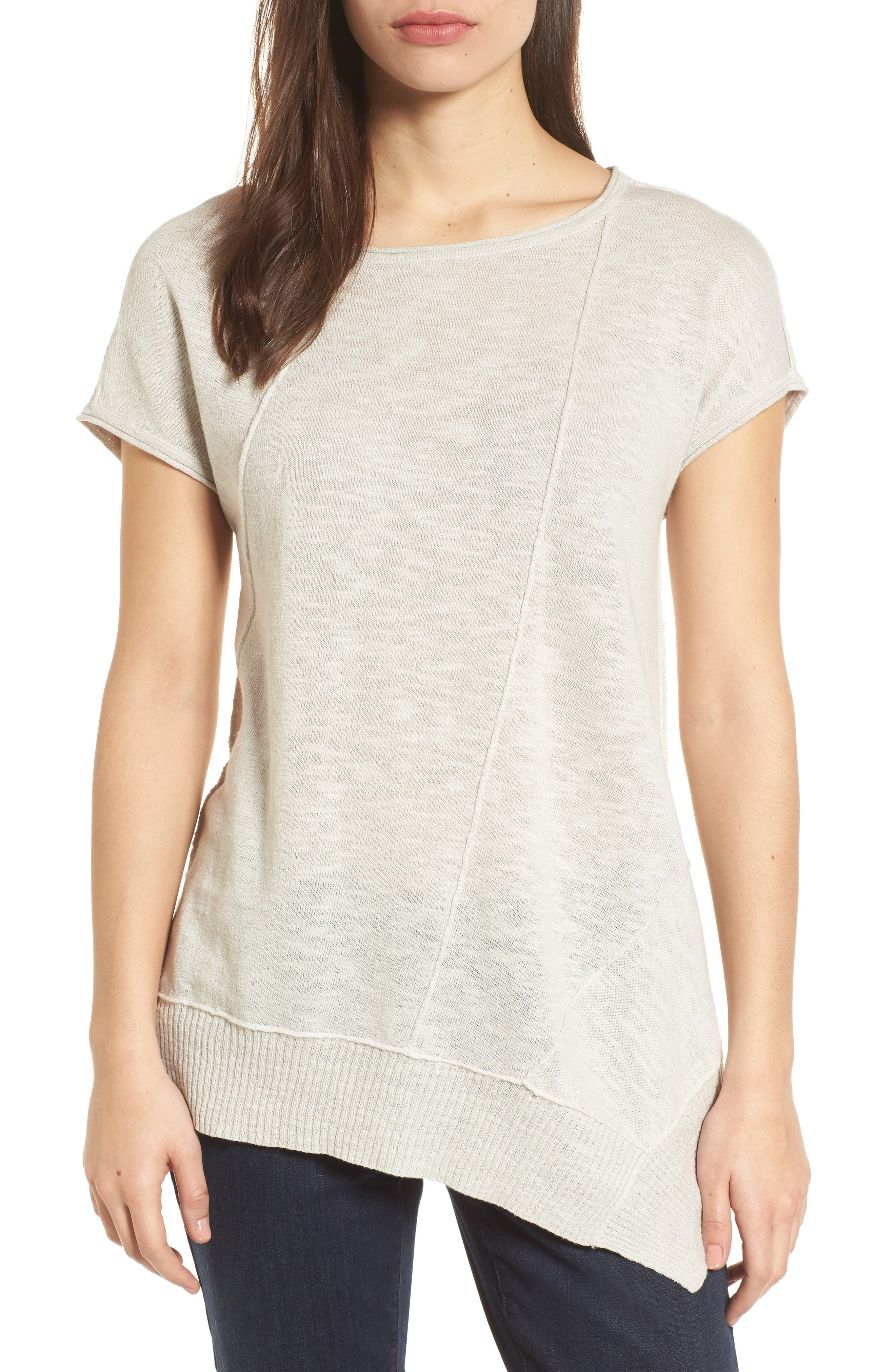 Cap Sleeve Organic Linen & Cotton Scoop Neck Top,                             Main thumbnail 2, color,