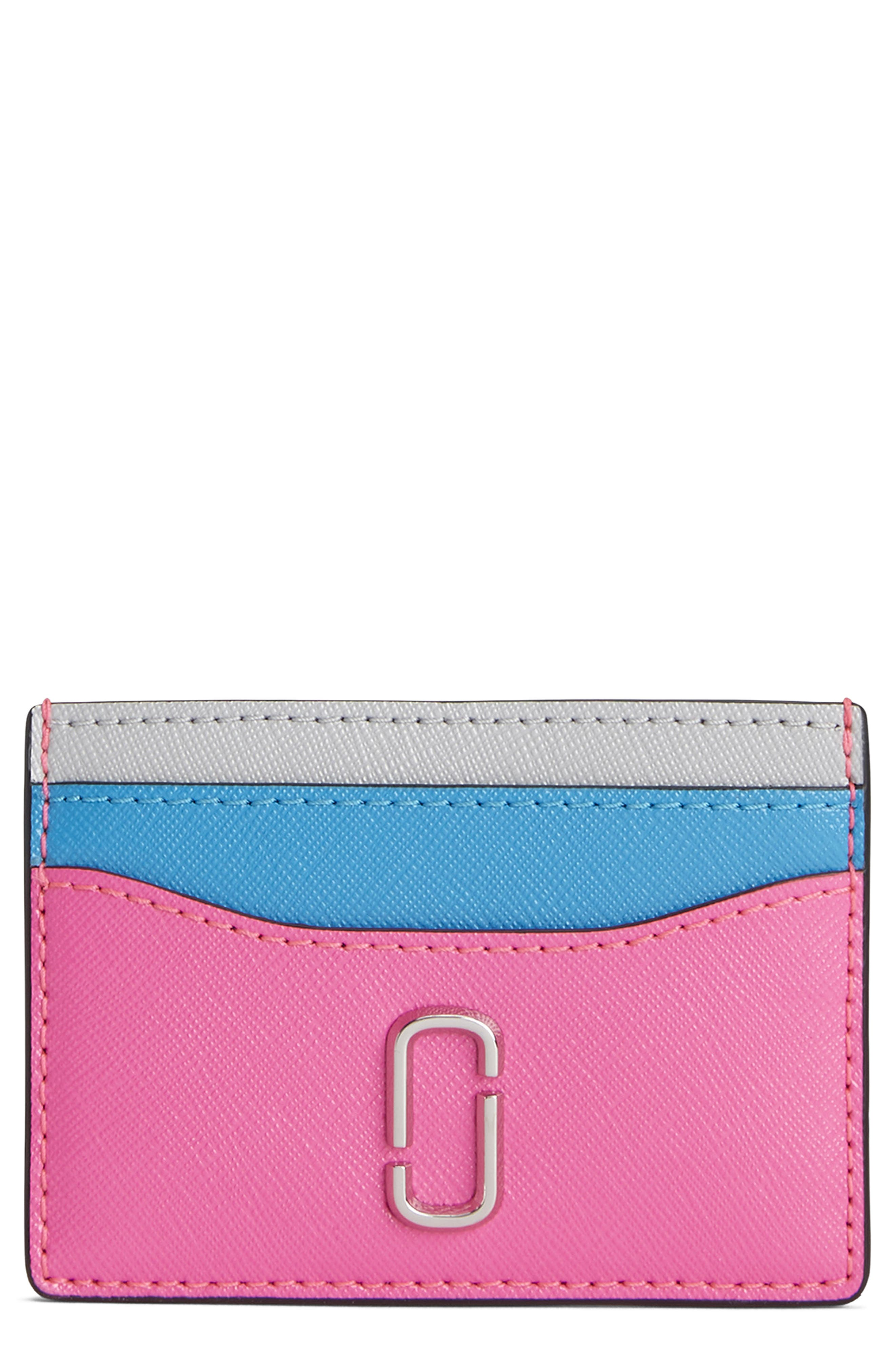 Snapshot Leather Card Case,                             Main thumbnail 1, color,                             BRIGHT PINK MULTI