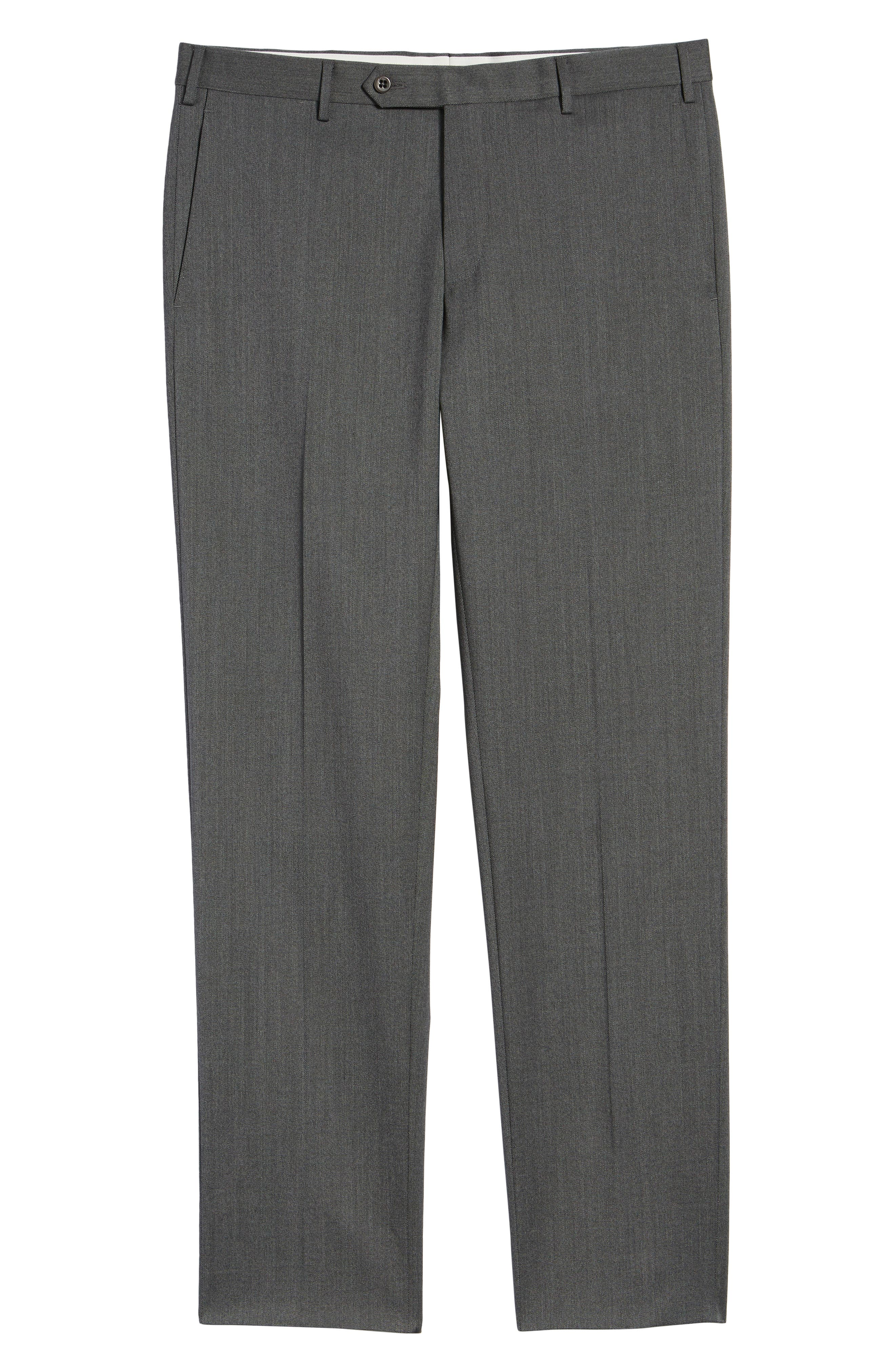 Parker Flat Front Stretch Twill Wool Trousers,                             Alternate thumbnail 6, color,                             GREY