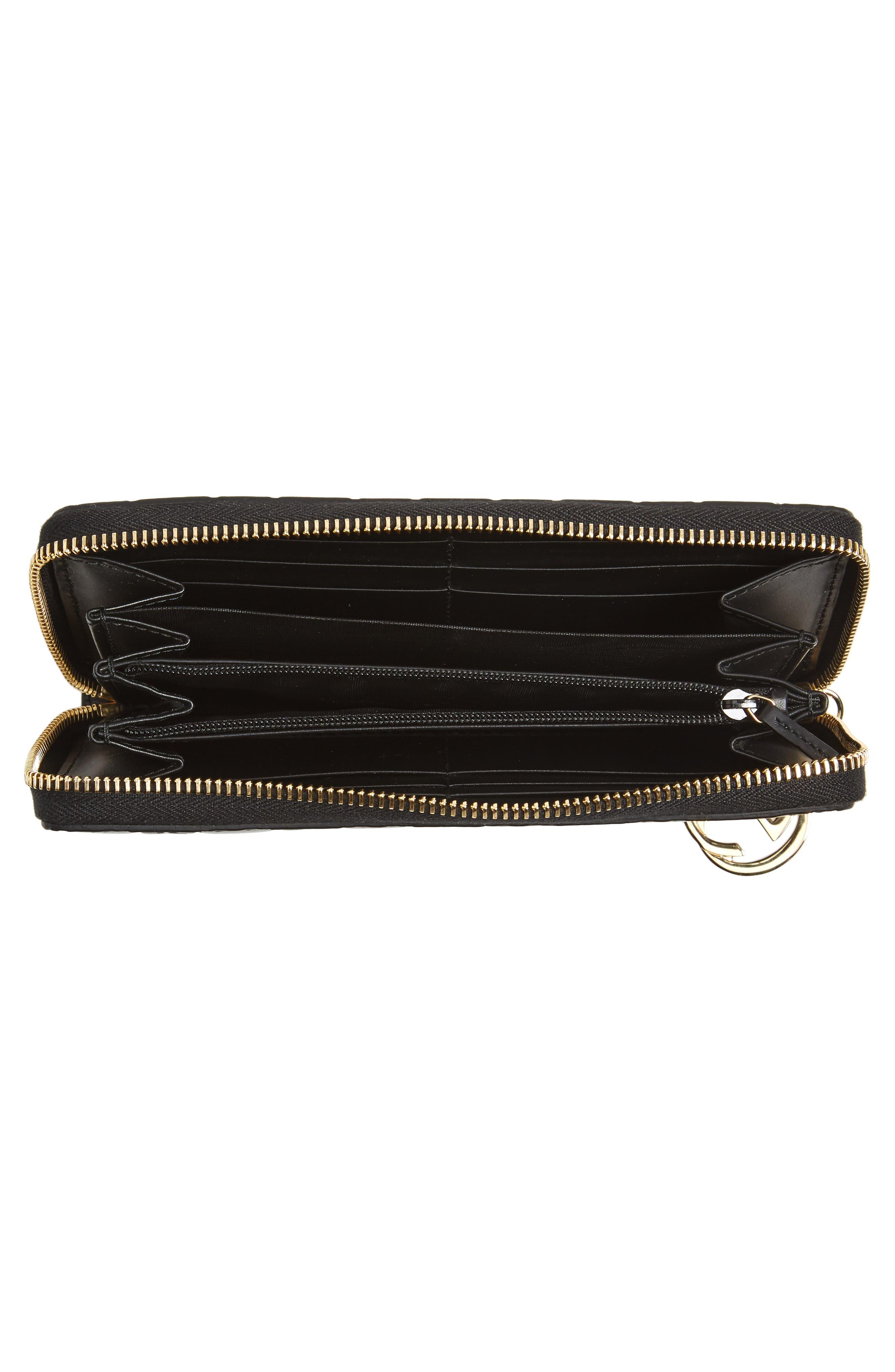 Icon Leather Zip-Around Wallet,                             Alternate thumbnail 4, color,                             001