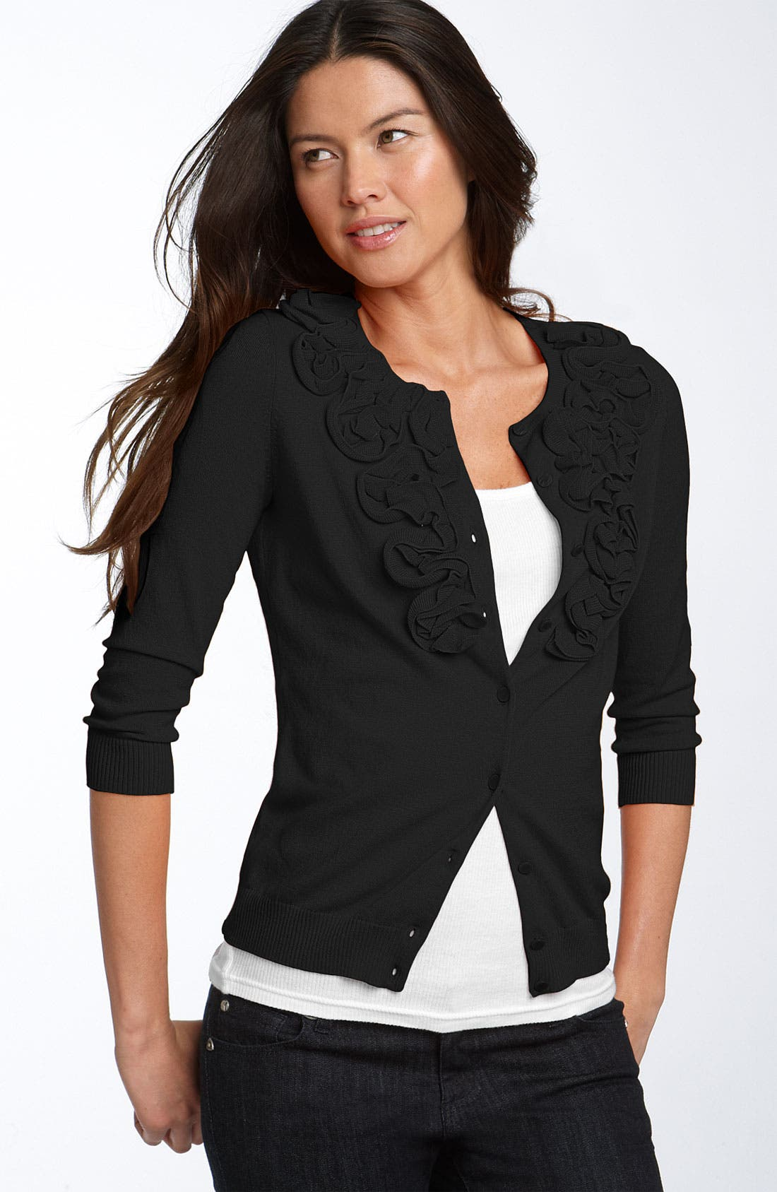 Ruffle Front Cardigan, Main, color, 001