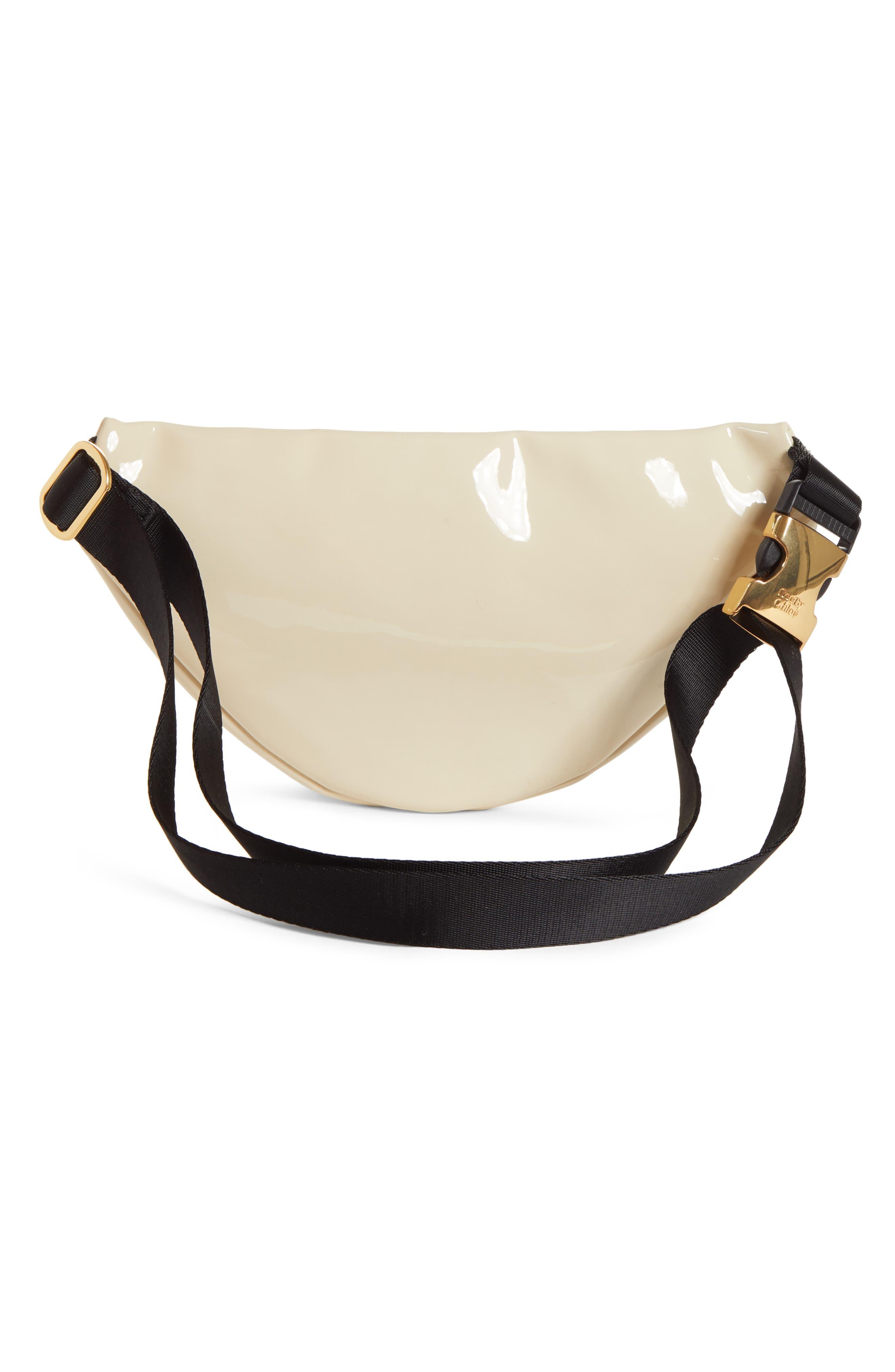 Mindy Patent Faux Leather Belt Bag,                             Alternate thumbnail 3, color,                             CEMENT BEIGE