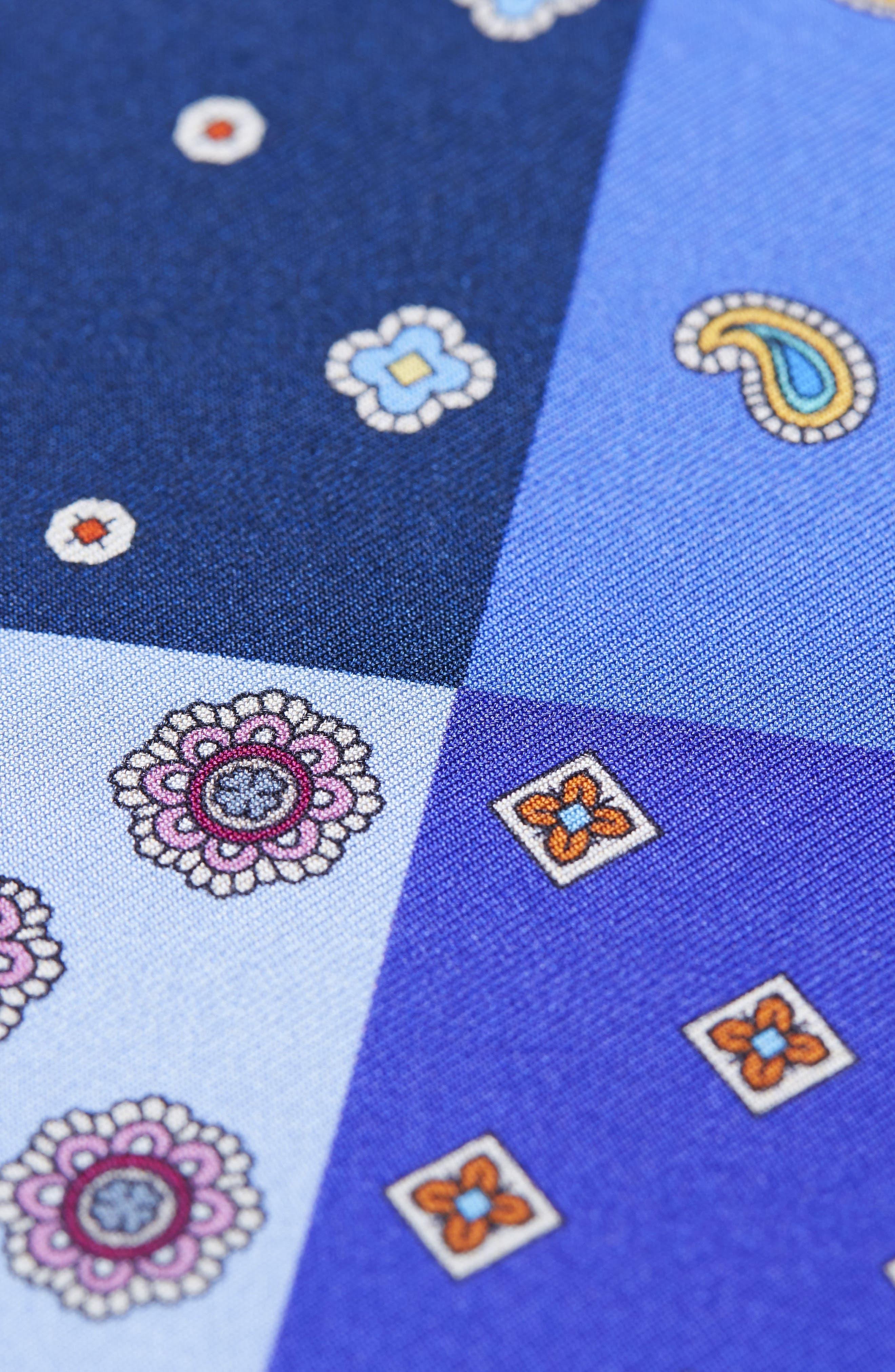 Four Panel Silk Pocket Square,                             Alternate thumbnail 3, color,