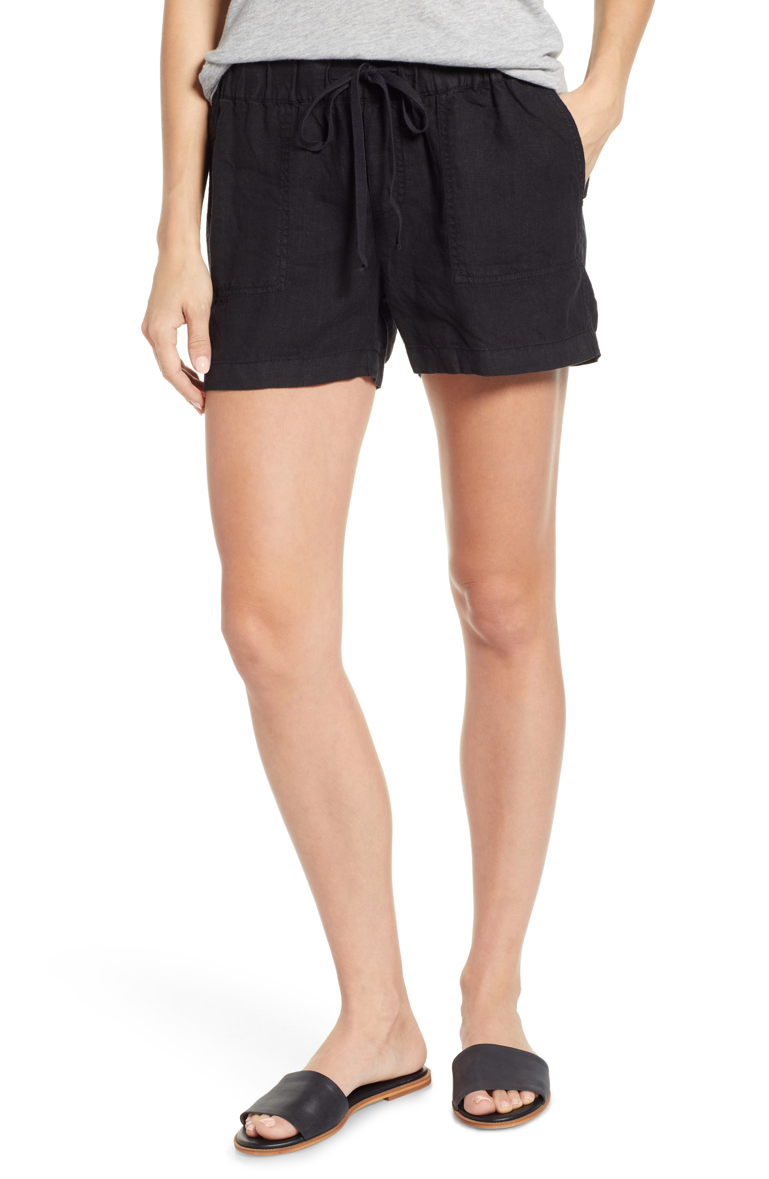 CASLON<SUP>®</SUP> Linen Shorts, Main, color, BLACK