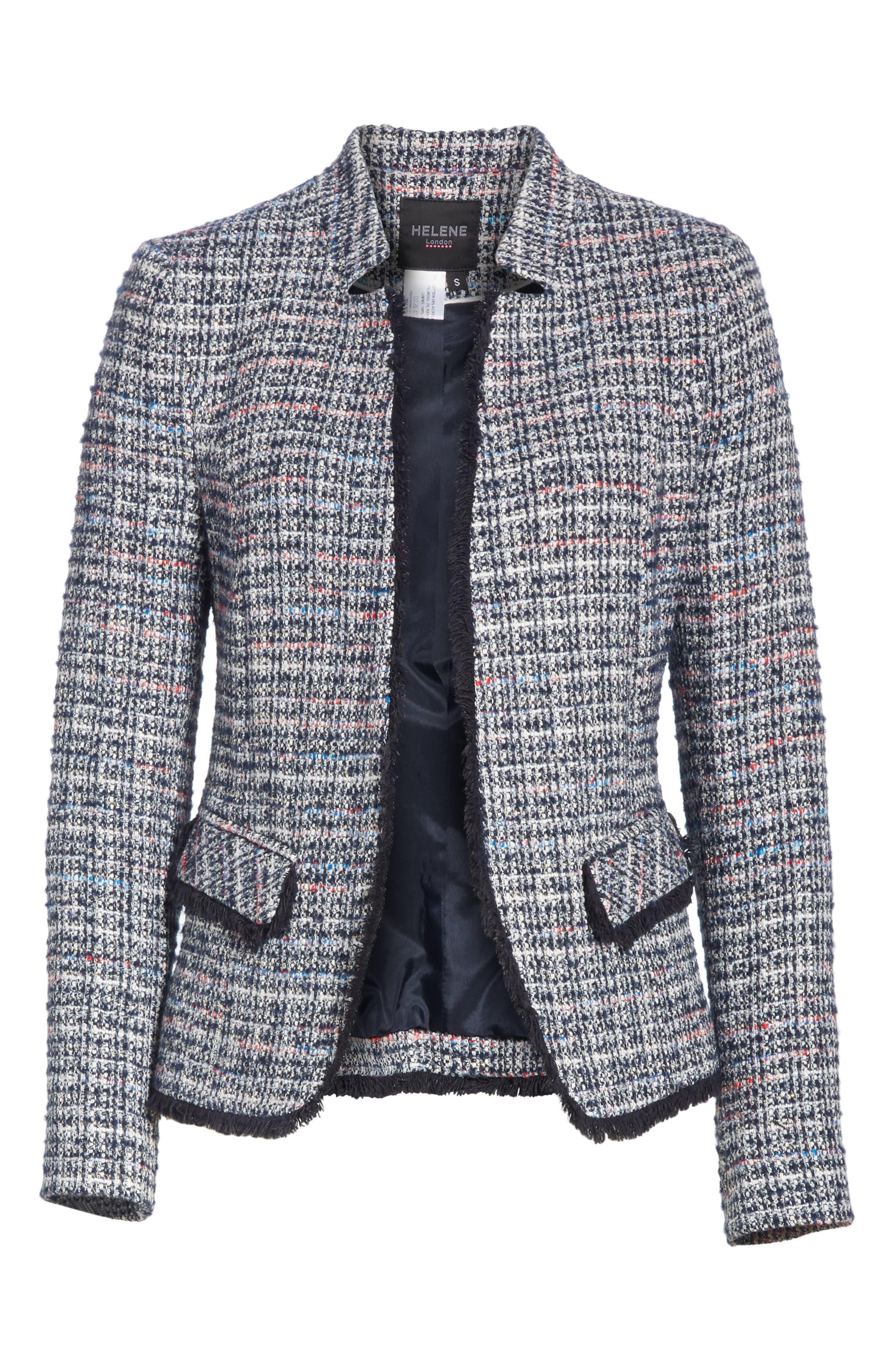 Notch Collar Tweed Jacket,                             Alternate thumbnail 5, color,                             400