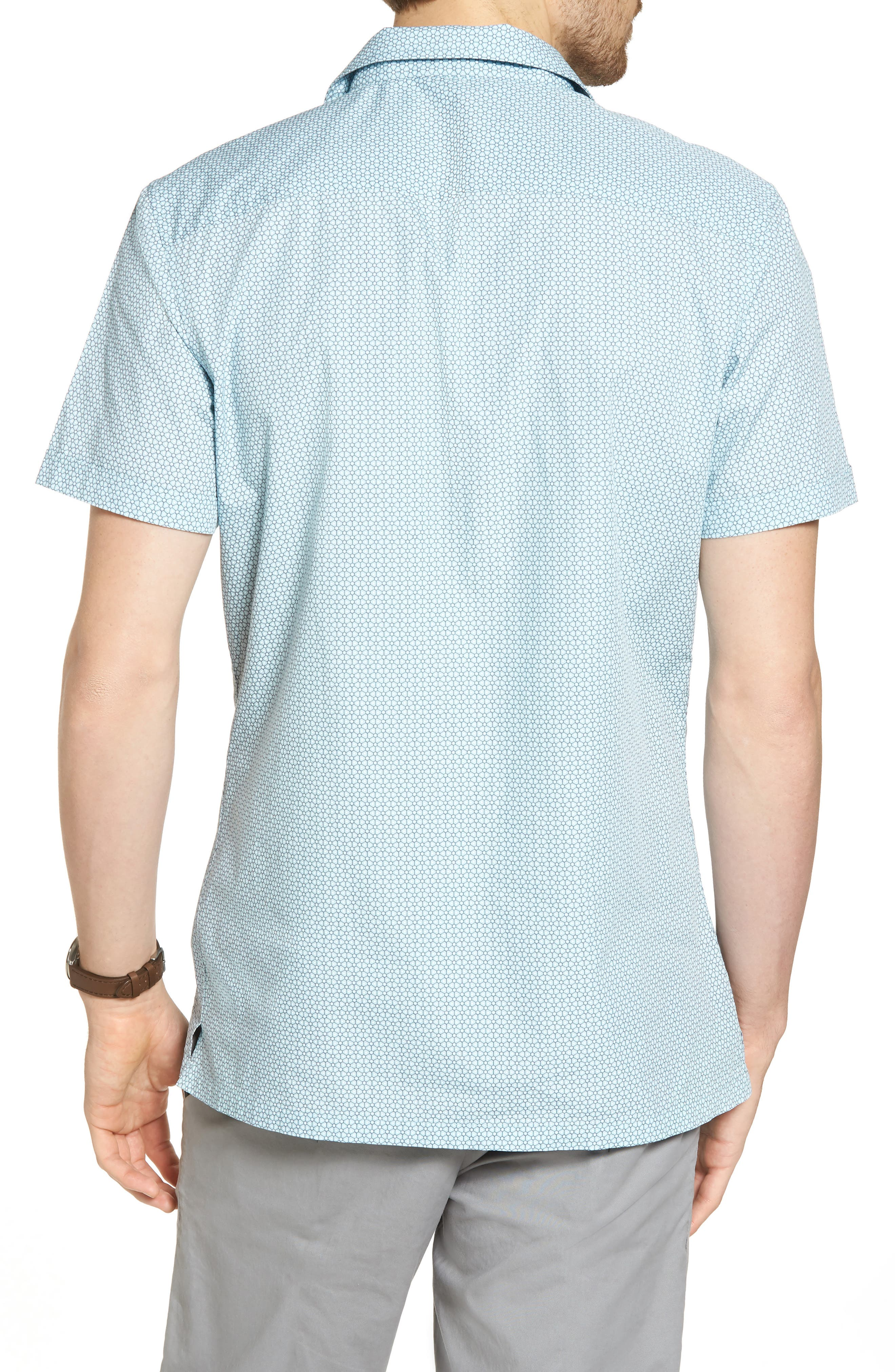 Trim Fit Stretch Geometric Camp Shirt,                             Alternate thumbnail 2, color,                             450
