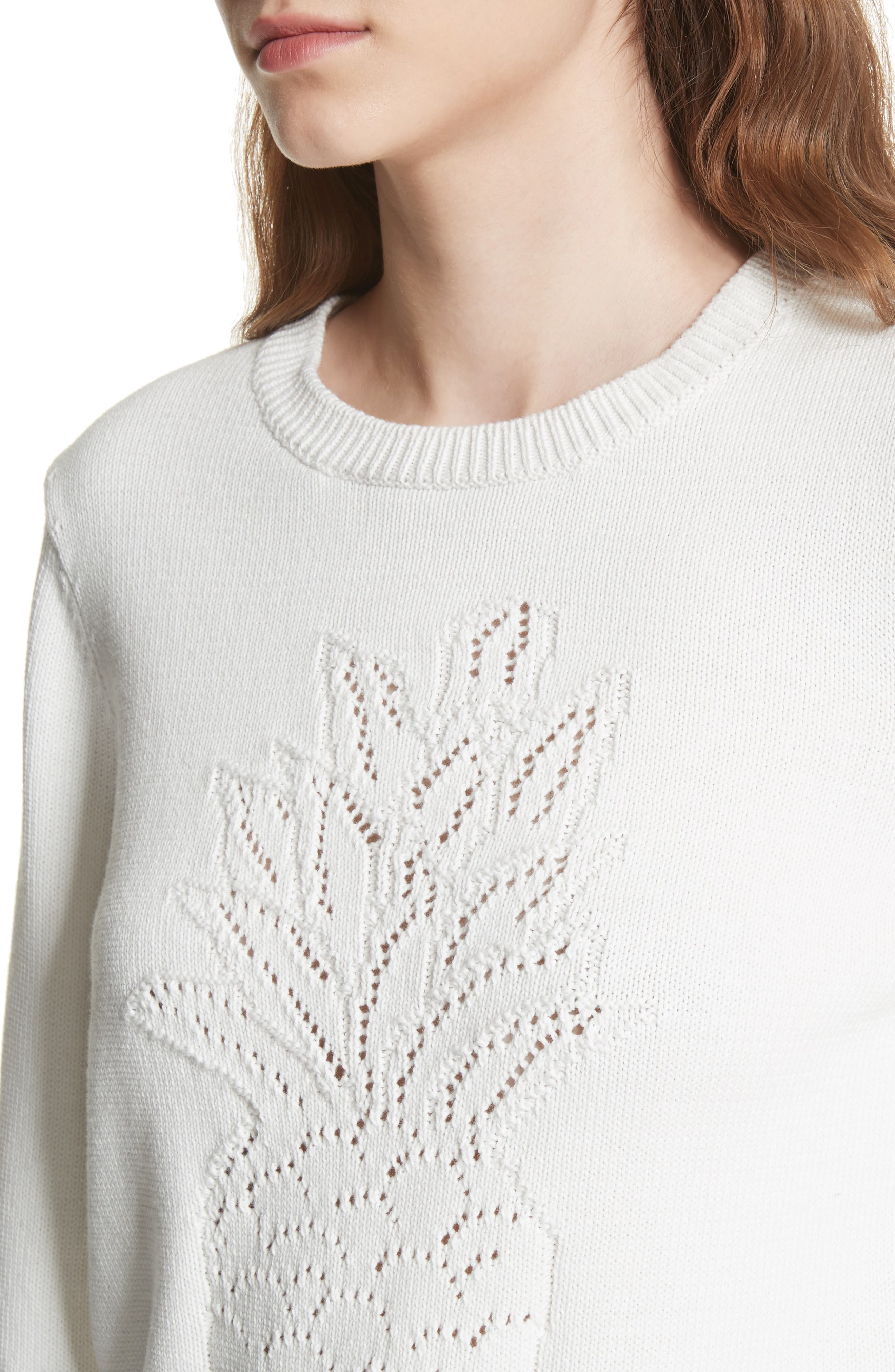 Barin Pineapple Cotton Sweater,                             Alternate thumbnail 4, color,                             120