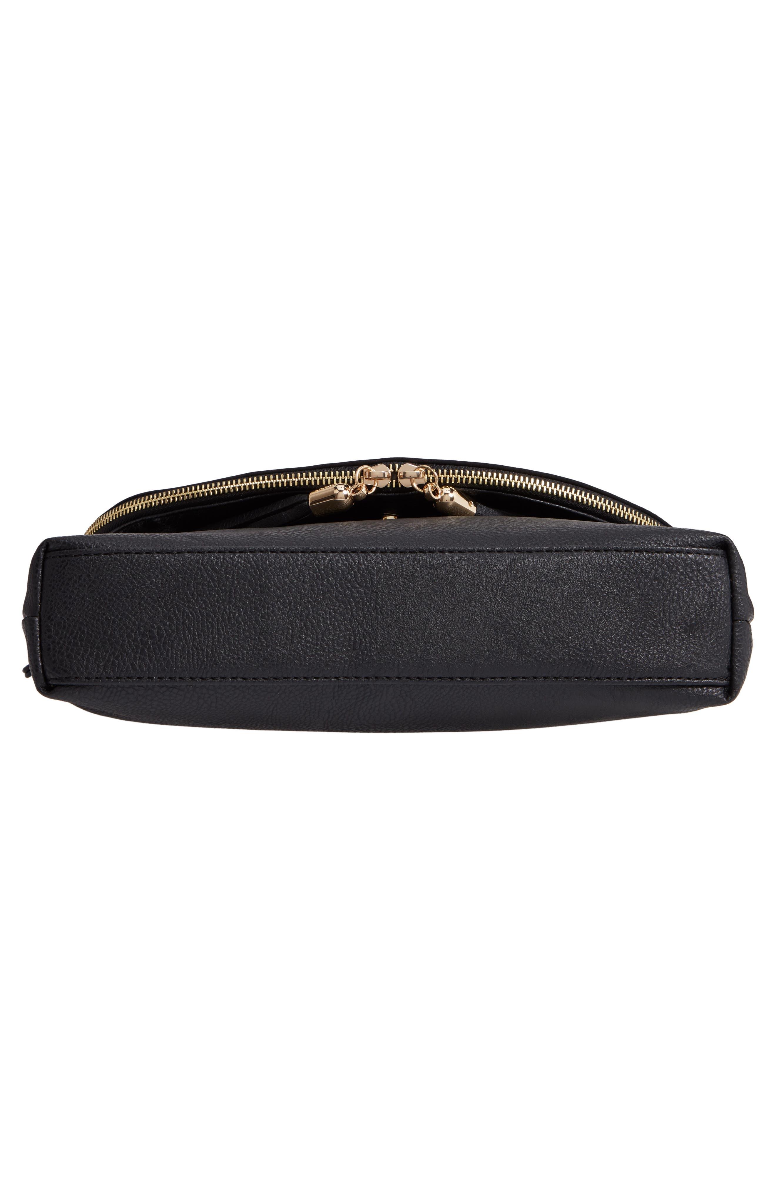 Faux Leather Foldover Tassel Crossbody Bag,                             Alternate thumbnail 6, color,                             BLACK