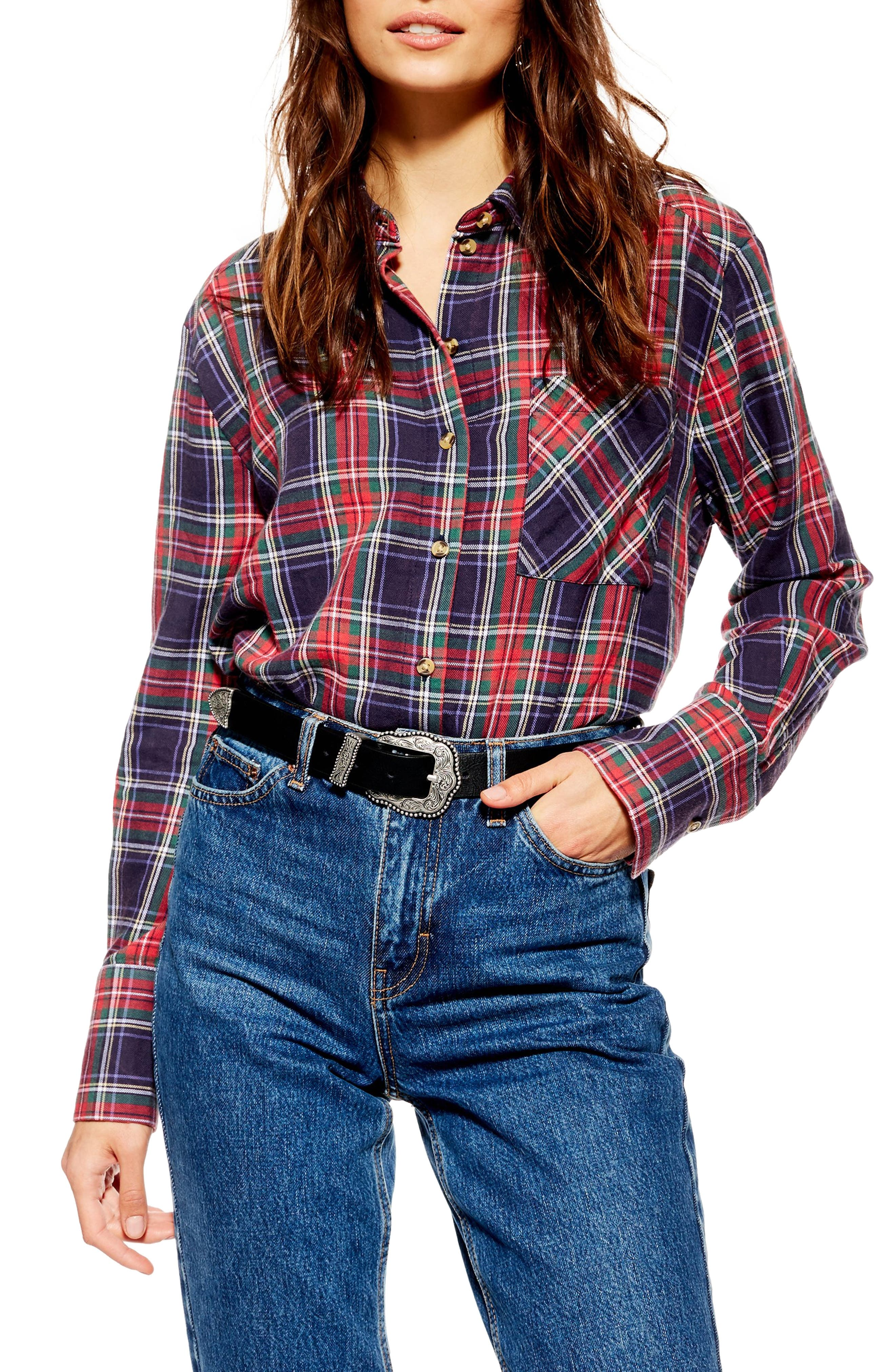 Pacey Washed Check Plaid Shirt,                         Main,                         color, NAVY BLUE MULTI