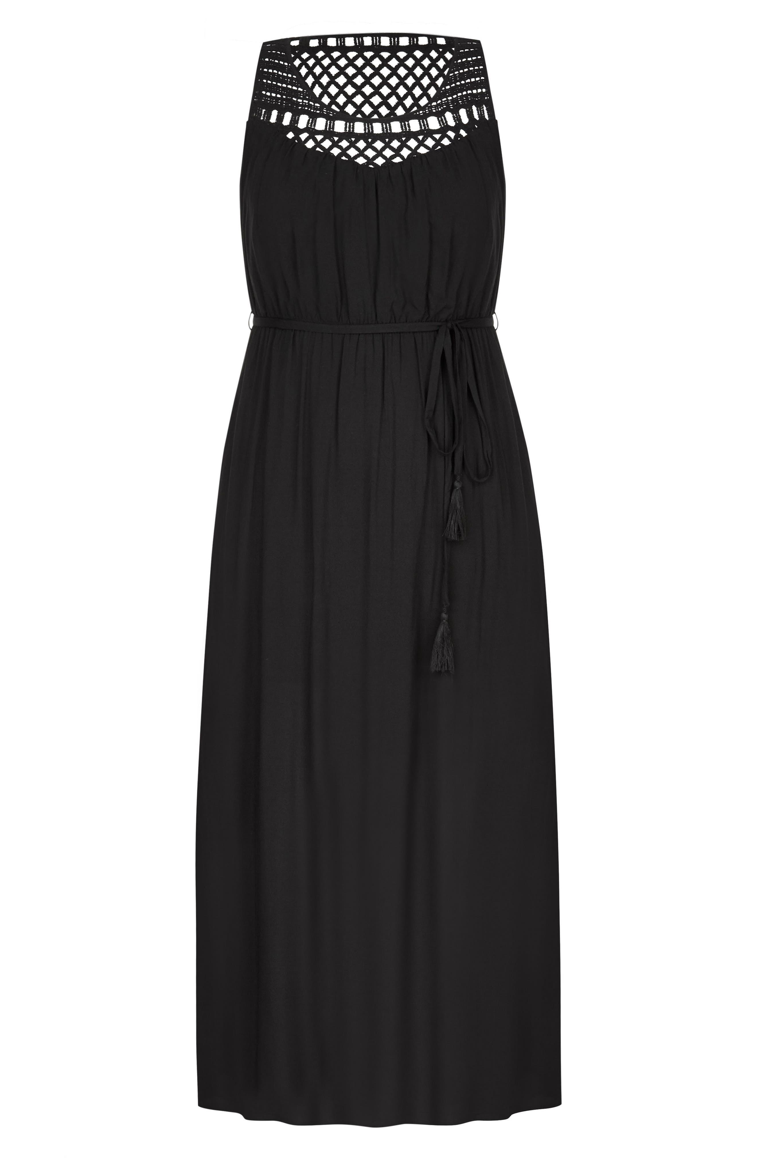 Crochet Tassel Tie Maxi Dress,                             Alternate thumbnail 3, color,                             BLACK