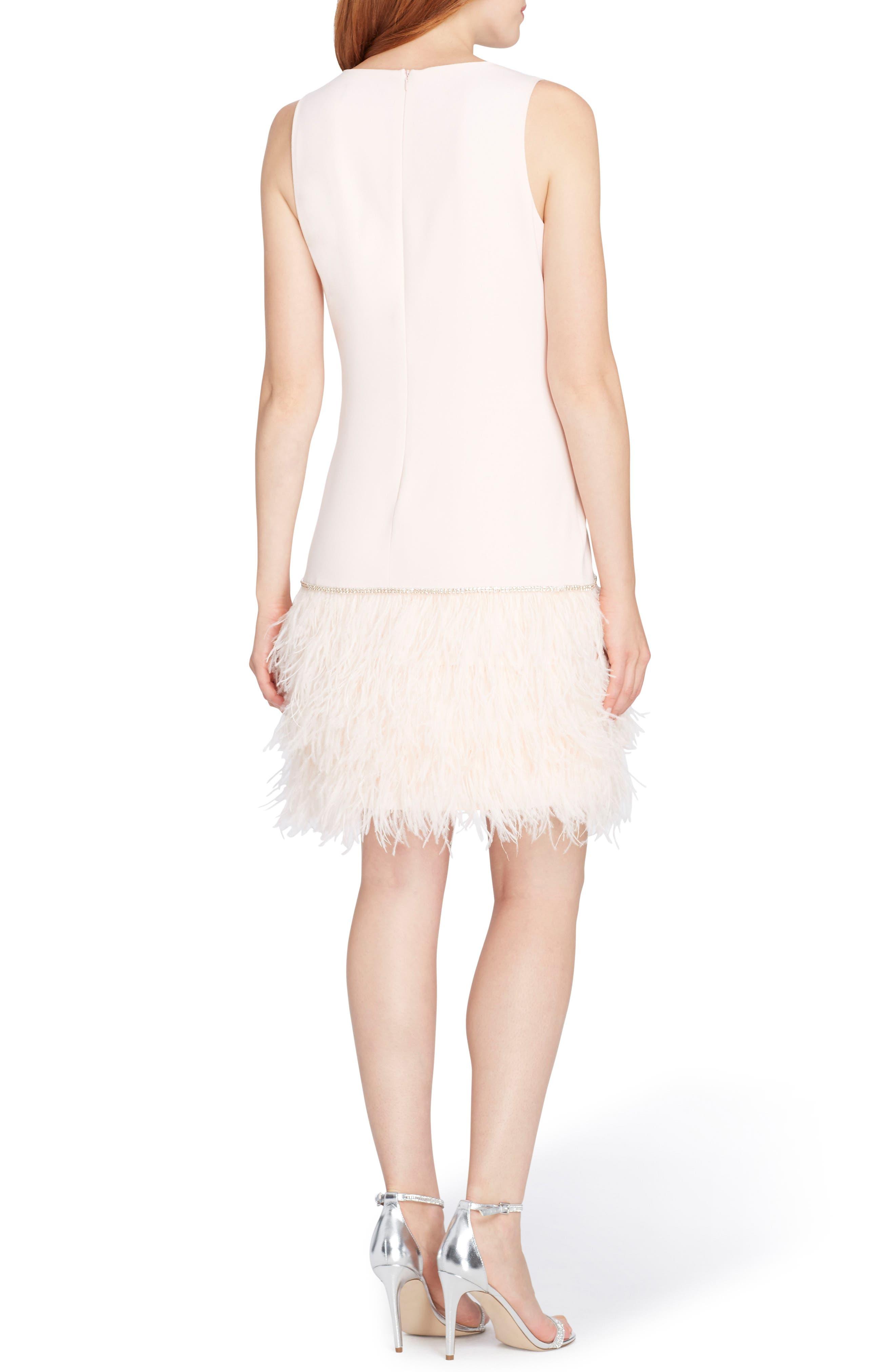 Feather Trim Sheath Dress,                             Alternate thumbnail 2, color,                             672