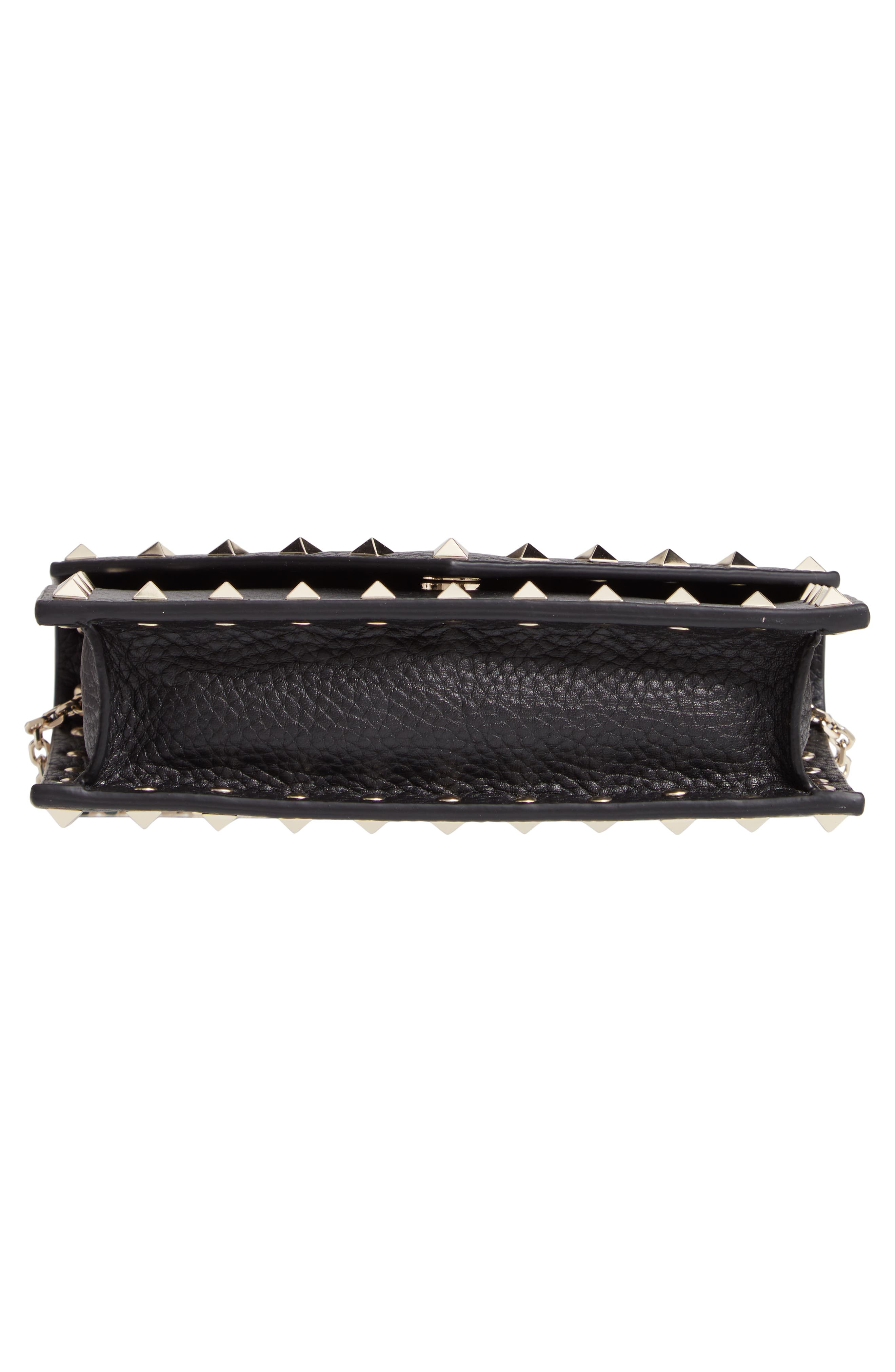 VALENTINO GARAVANI,                             Rockstud Calfskin Leather Envelope Pouch,                             Alternate thumbnail 6, color,                             NERO