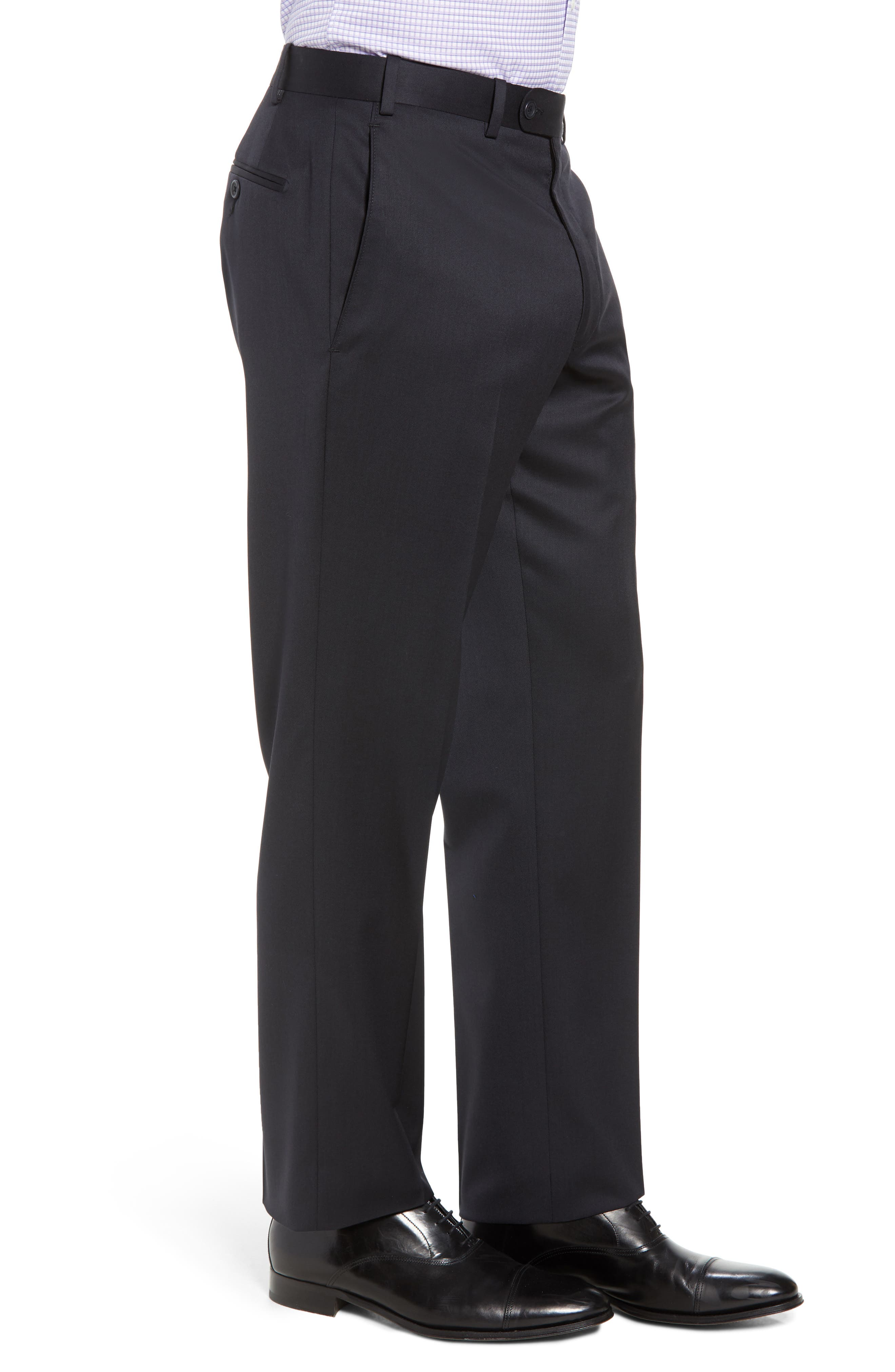 Torino Flat Front Wool Gabardine Trousers,                             Alternate thumbnail 17, color,
