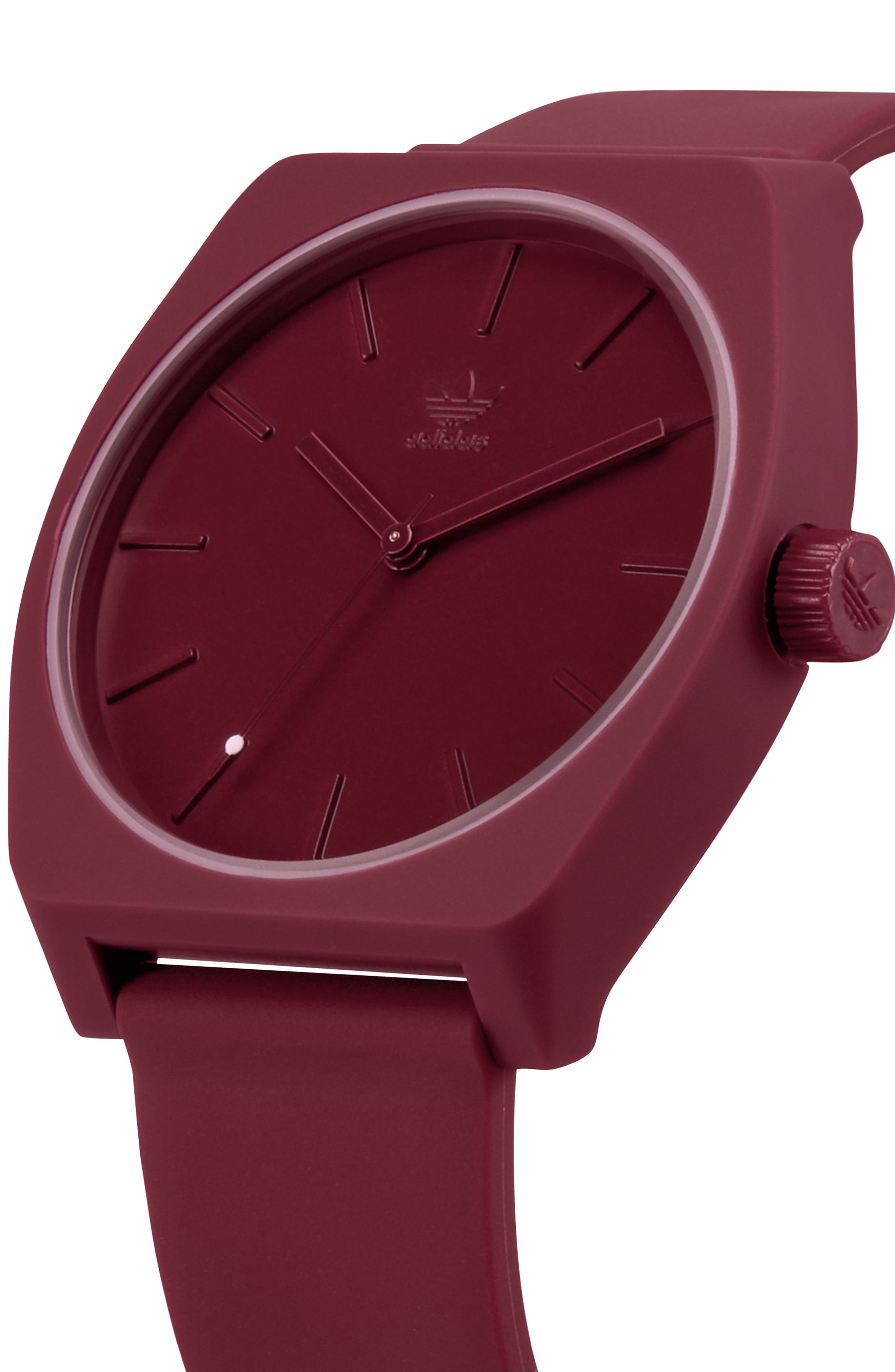 ADIDAS,                             Process Silicone Strap Watch, 38mm,                             Alternate thumbnail 4, color,                             BURGUNDY