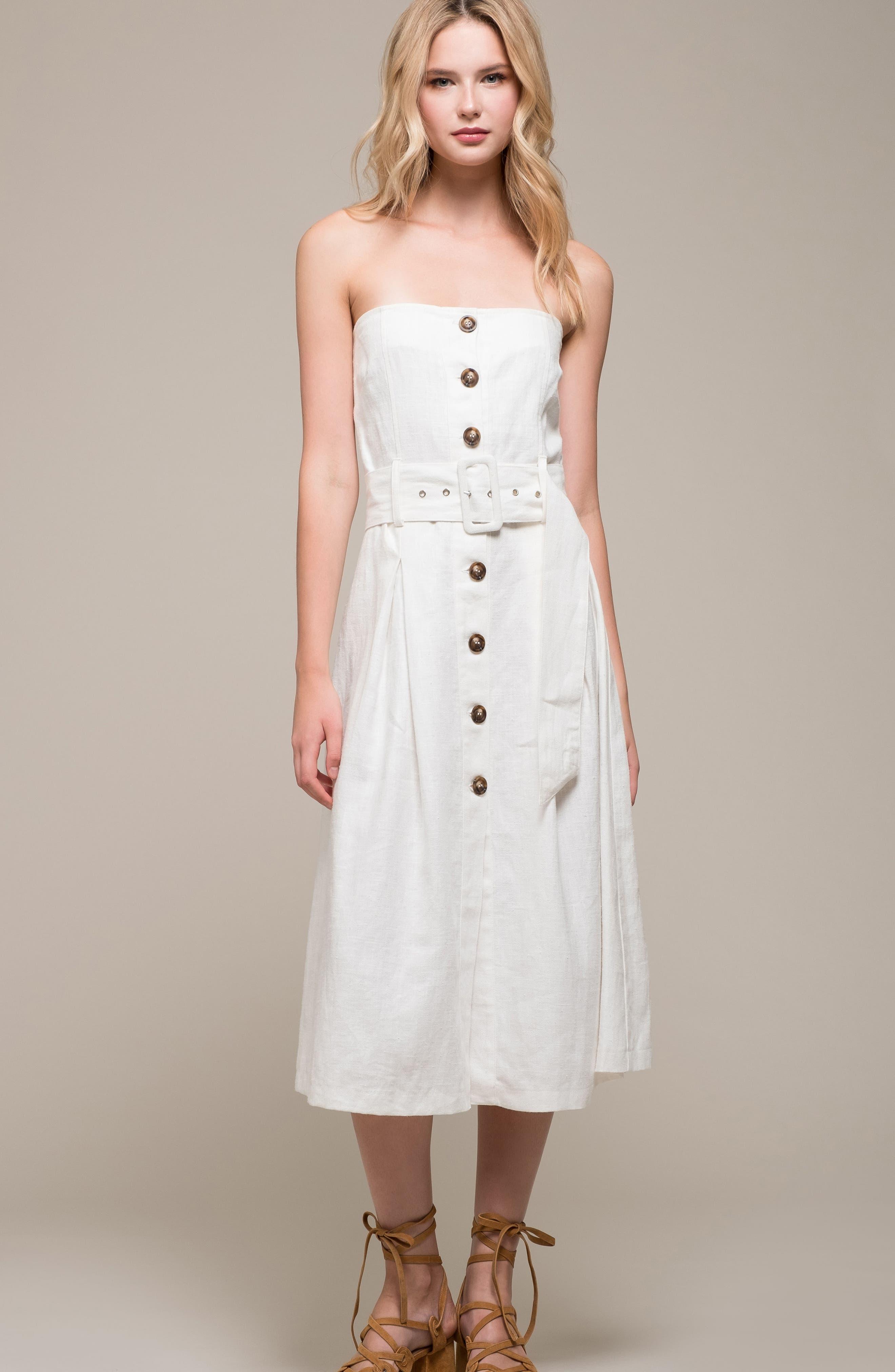 Linen & Cotton Strapless Dress,                             Alternate thumbnail 7, color,