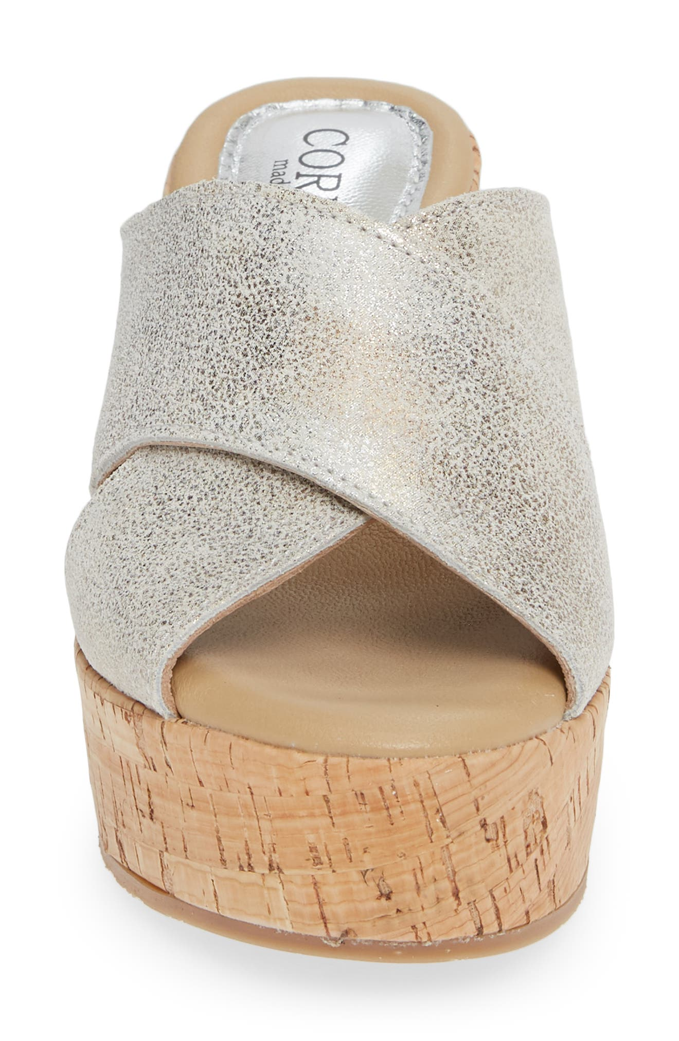 Jan Platform Wedge Slide Sandal,                             Alternate thumbnail 4, color,                             PEARL SUEDE