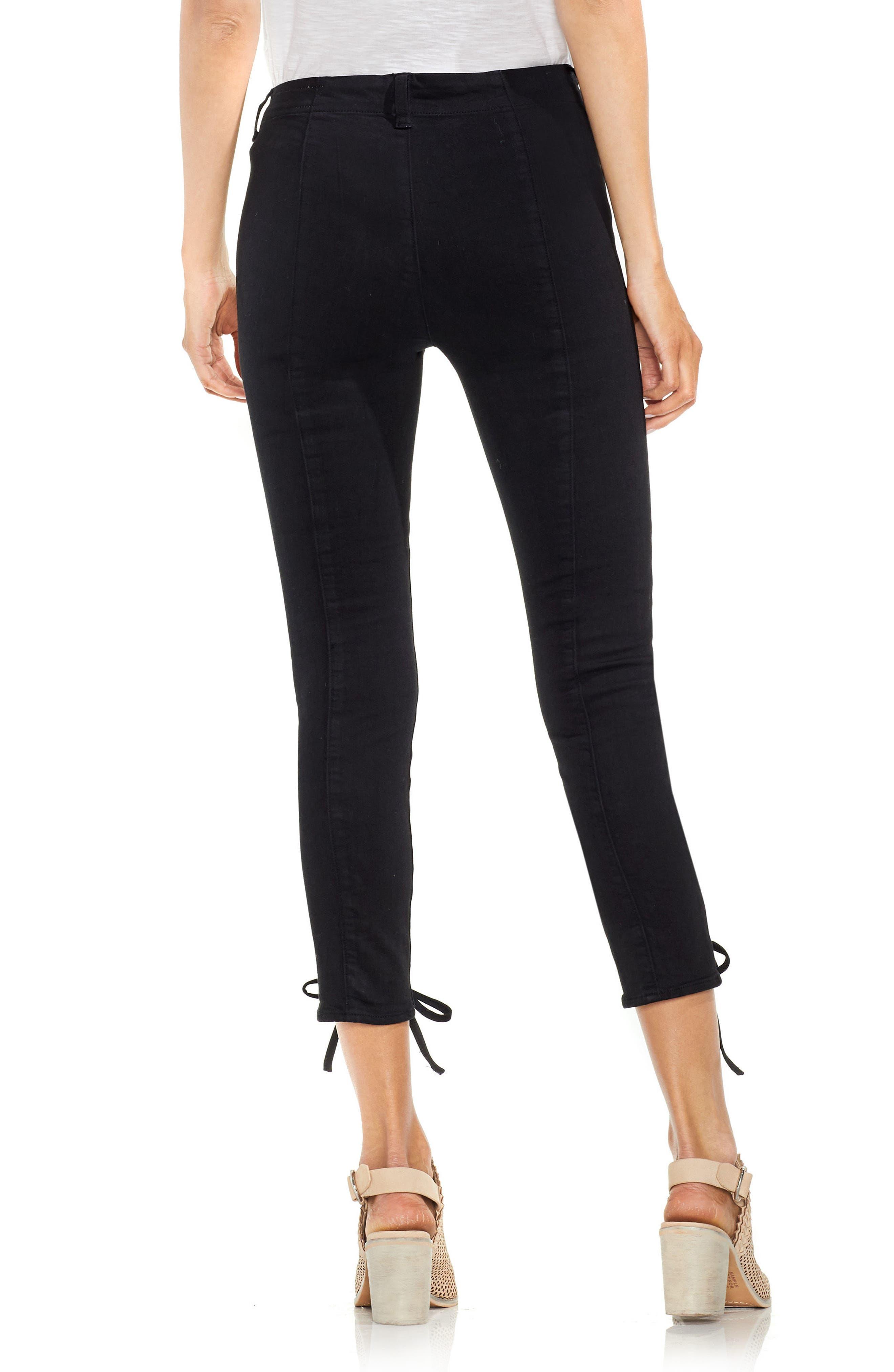 Lace-Up Cuff D-Luxe Pants,                             Alternate thumbnail 2, color,                             RICH BLACK