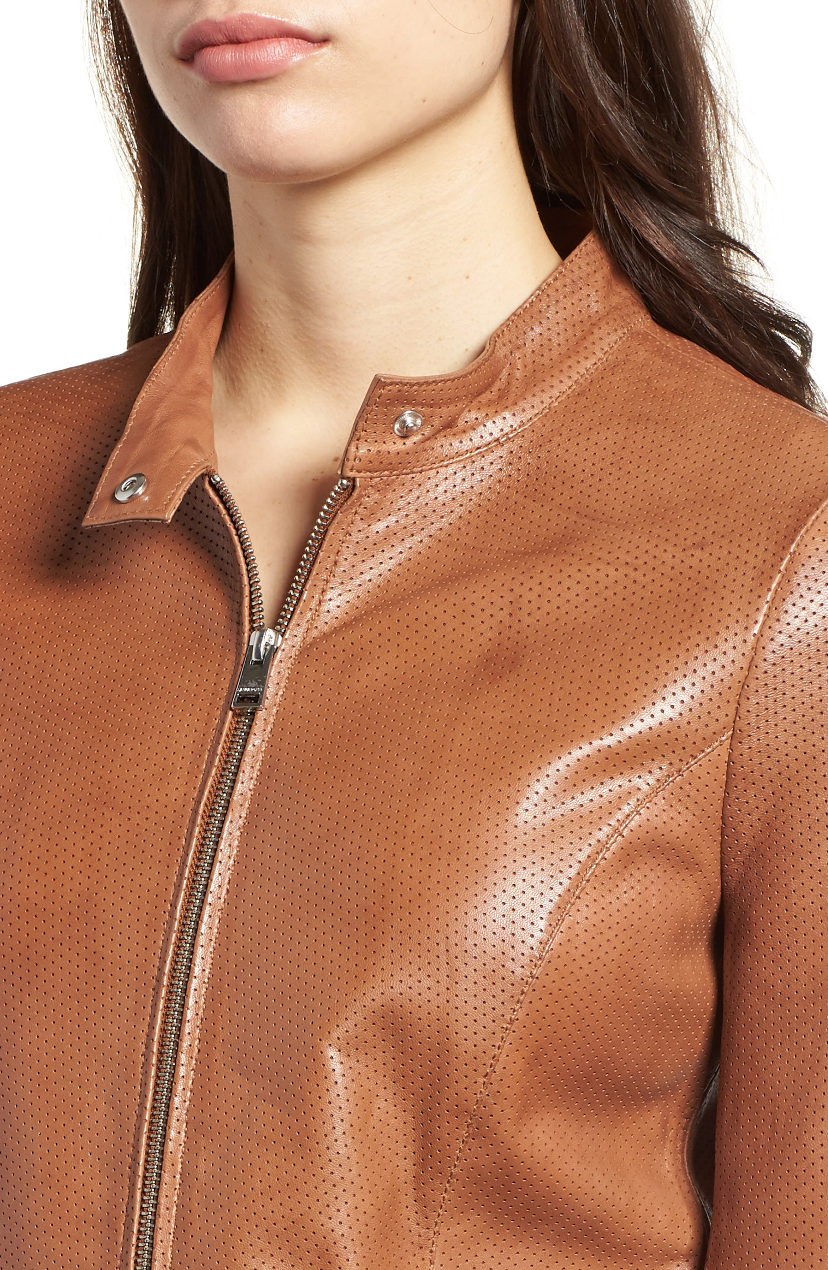 Perforated Leather Biker Jacket,                             Alternate thumbnail 4, color,                             TAN