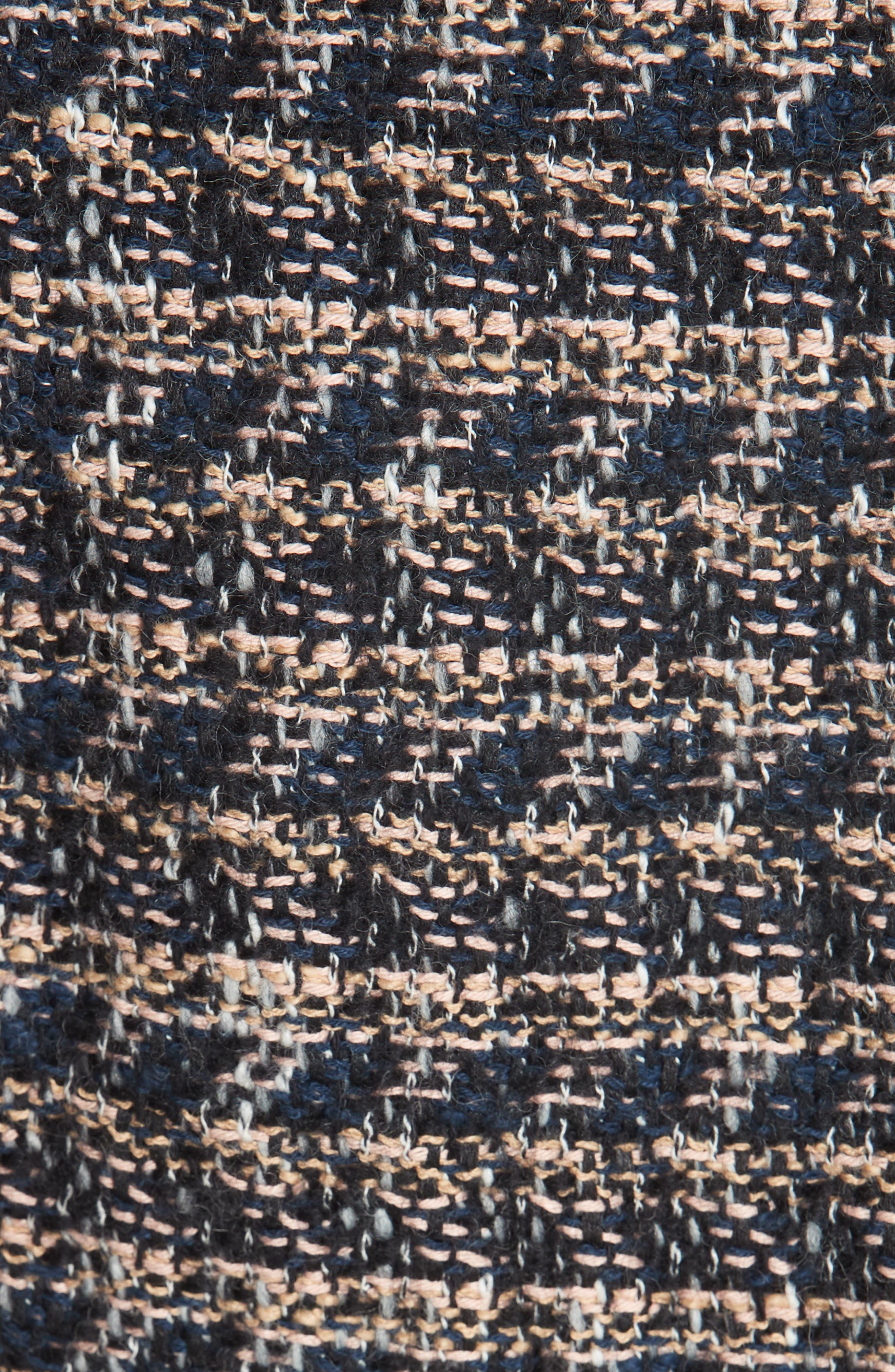 Zip Front Tweed Peplum Jacket,                             Alternate thumbnail 6, color,                             MULTI