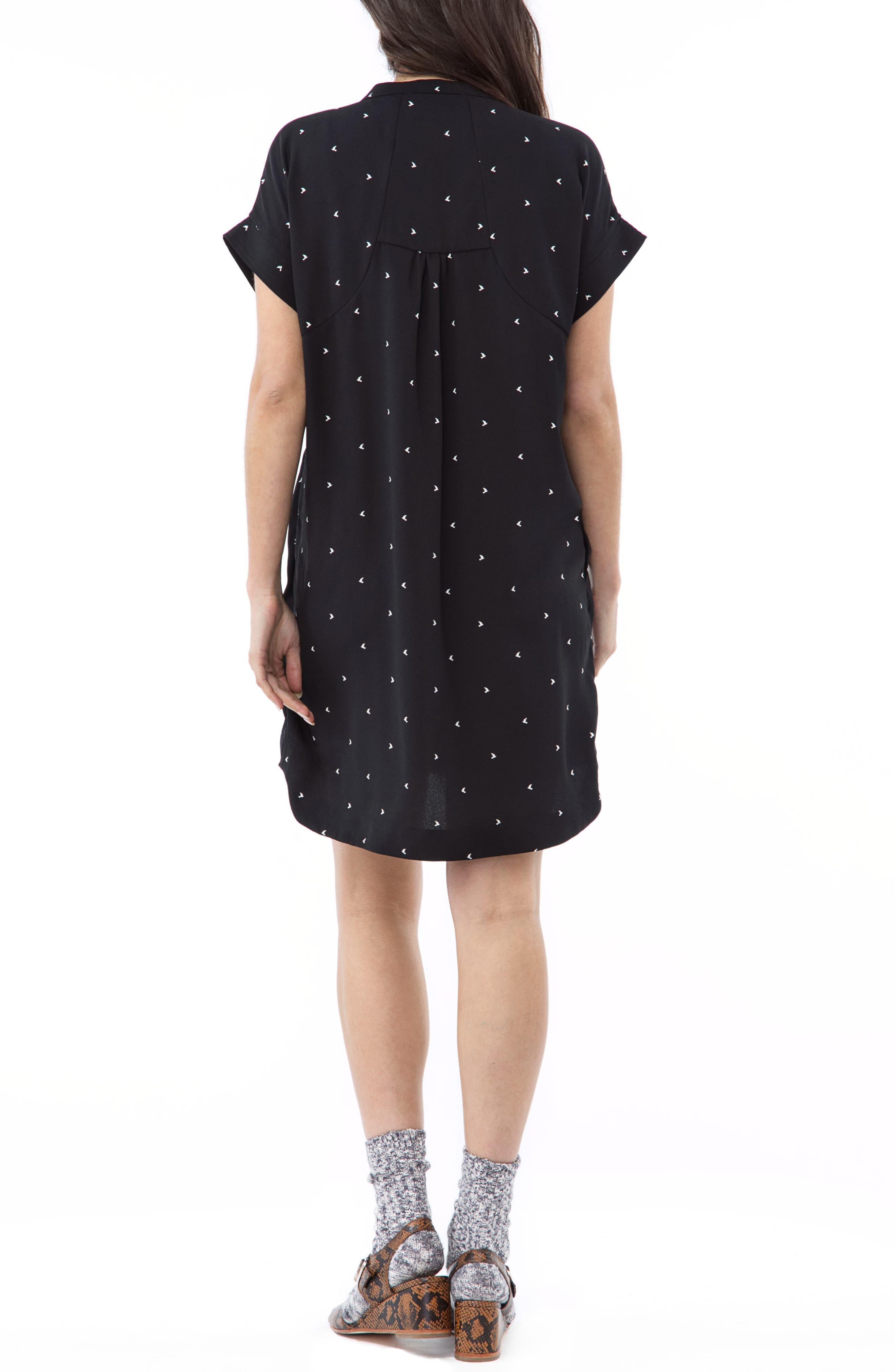 Cybelle Maternity/Nursing Shirtdress,                             Alternate thumbnail 2, color,                             BLACK BIRDS