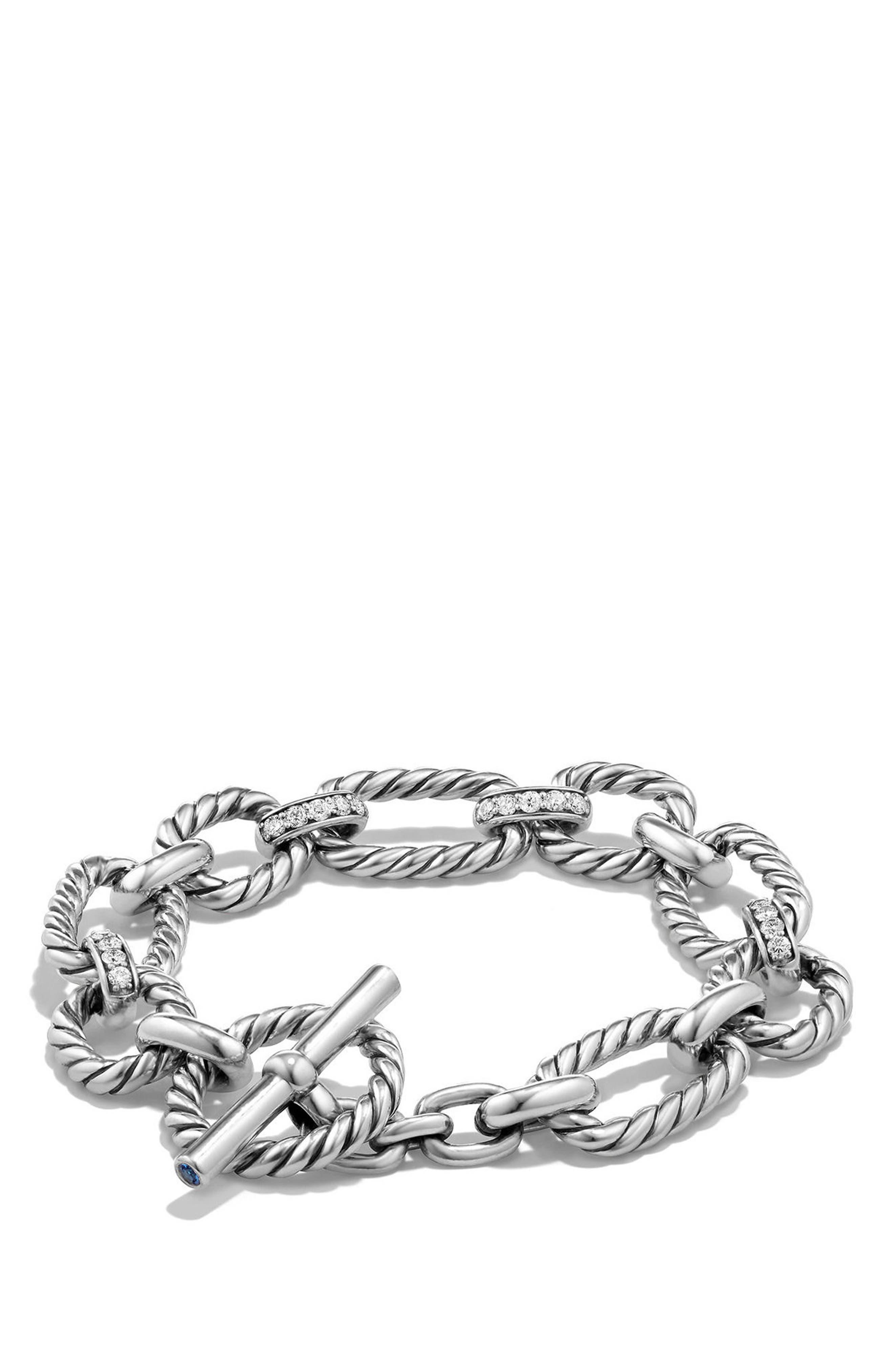 'Chain' Cushion Link Bracelet with Diamonds,                             Main thumbnail 1, color,                             SILVER