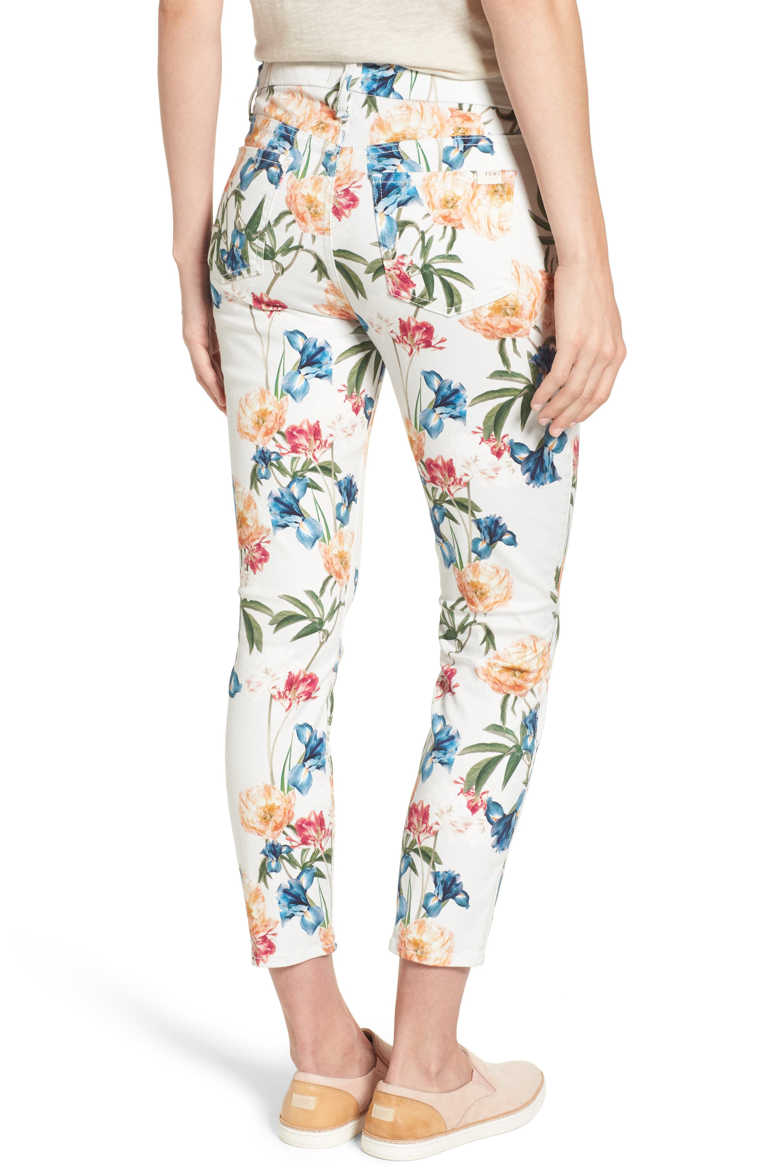 Floral Print Crop Skinny Jeans,                             Alternate thumbnail 2, color,                             101
