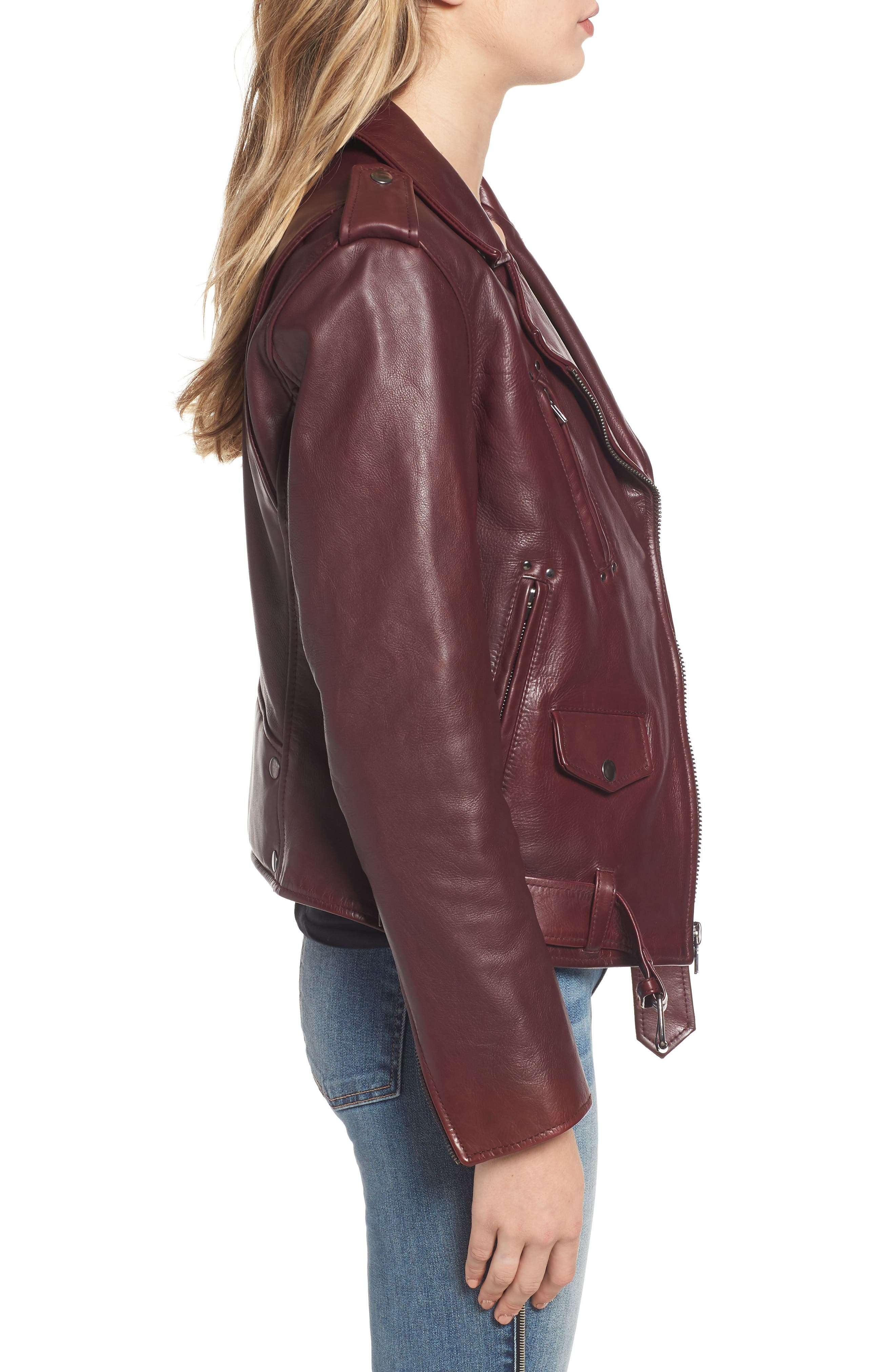 Leather Biker Jacket,                             Alternate thumbnail 3, color,                             BLACKENED BORDEAUX