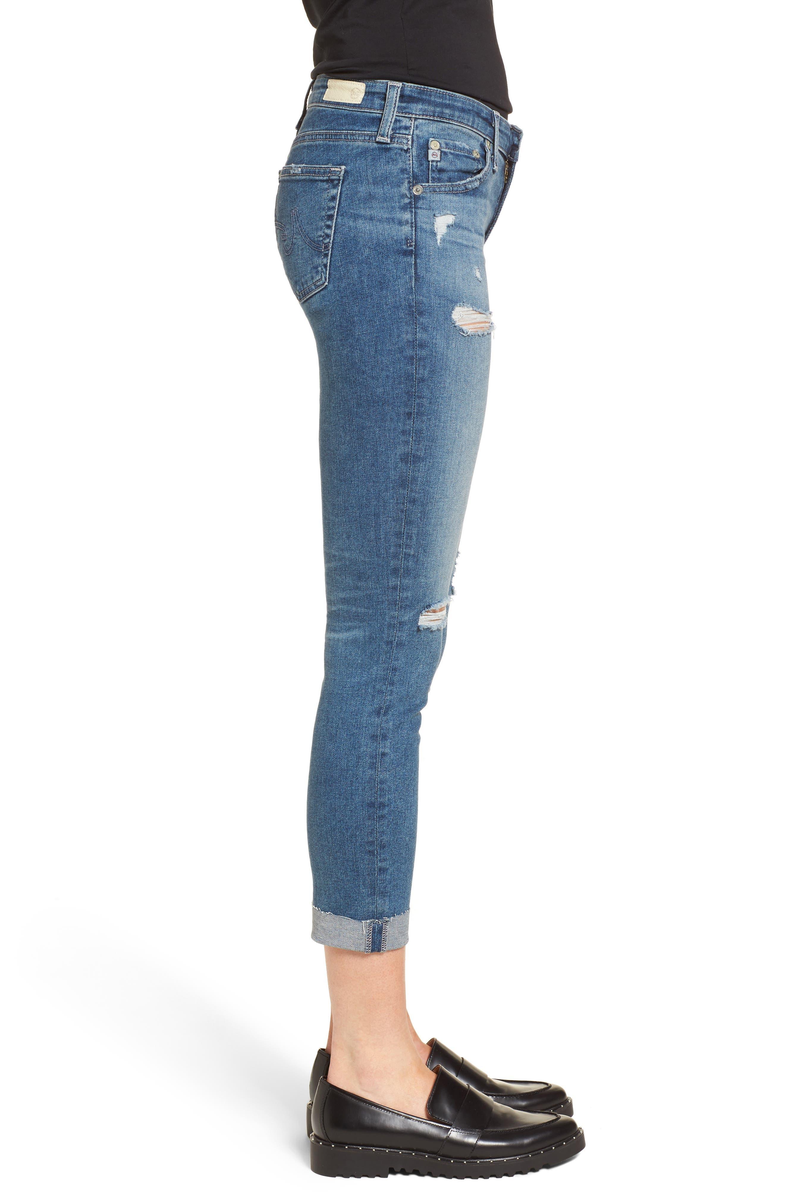 The Stilt Destructed Crop Skinny Jeans,                             Alternate thumbnail 3, color,