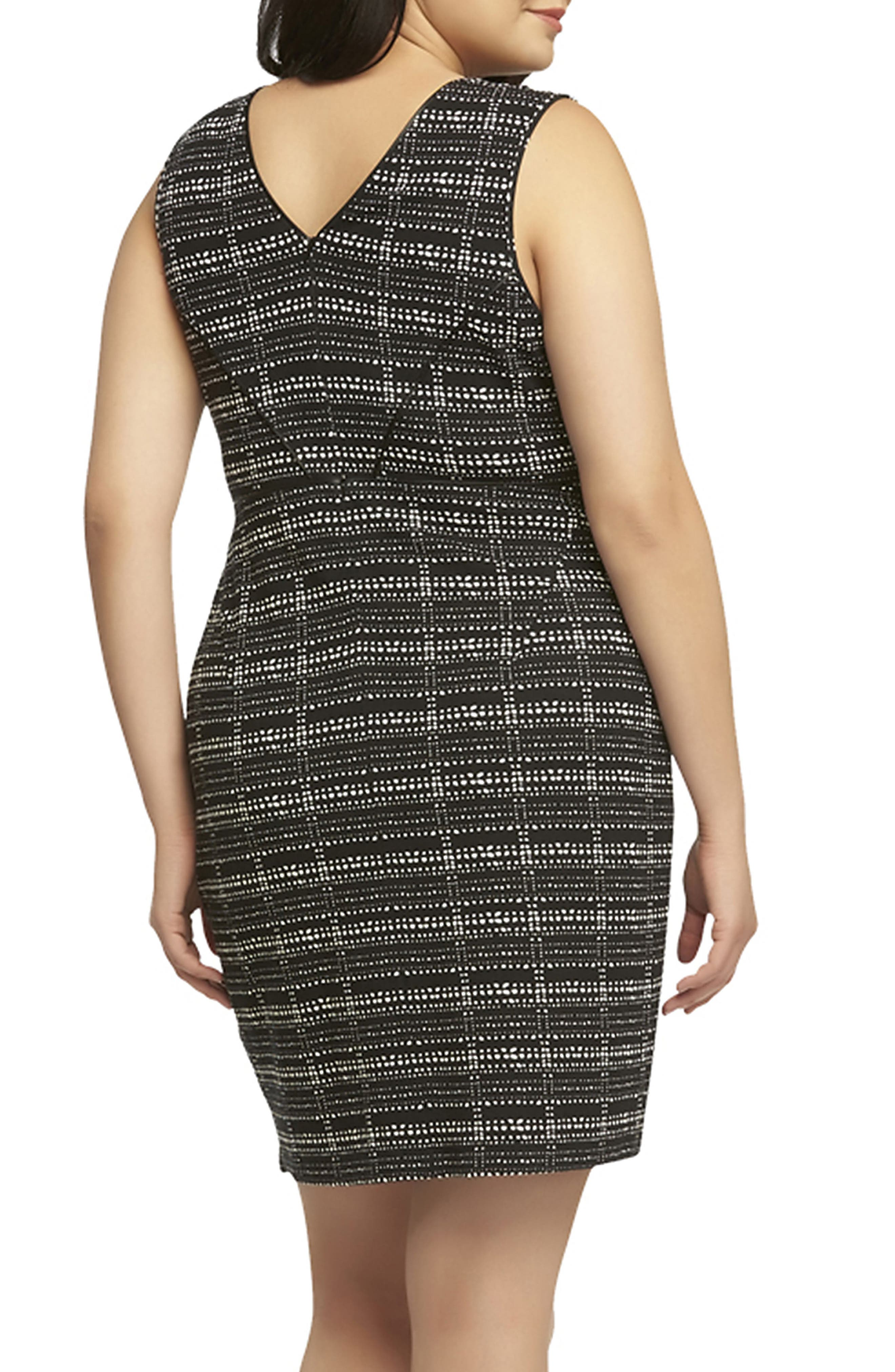 'Viera' Piped Detail V-Neck Sheath Dress,                             Alternate thumbnail 2, color,                             003