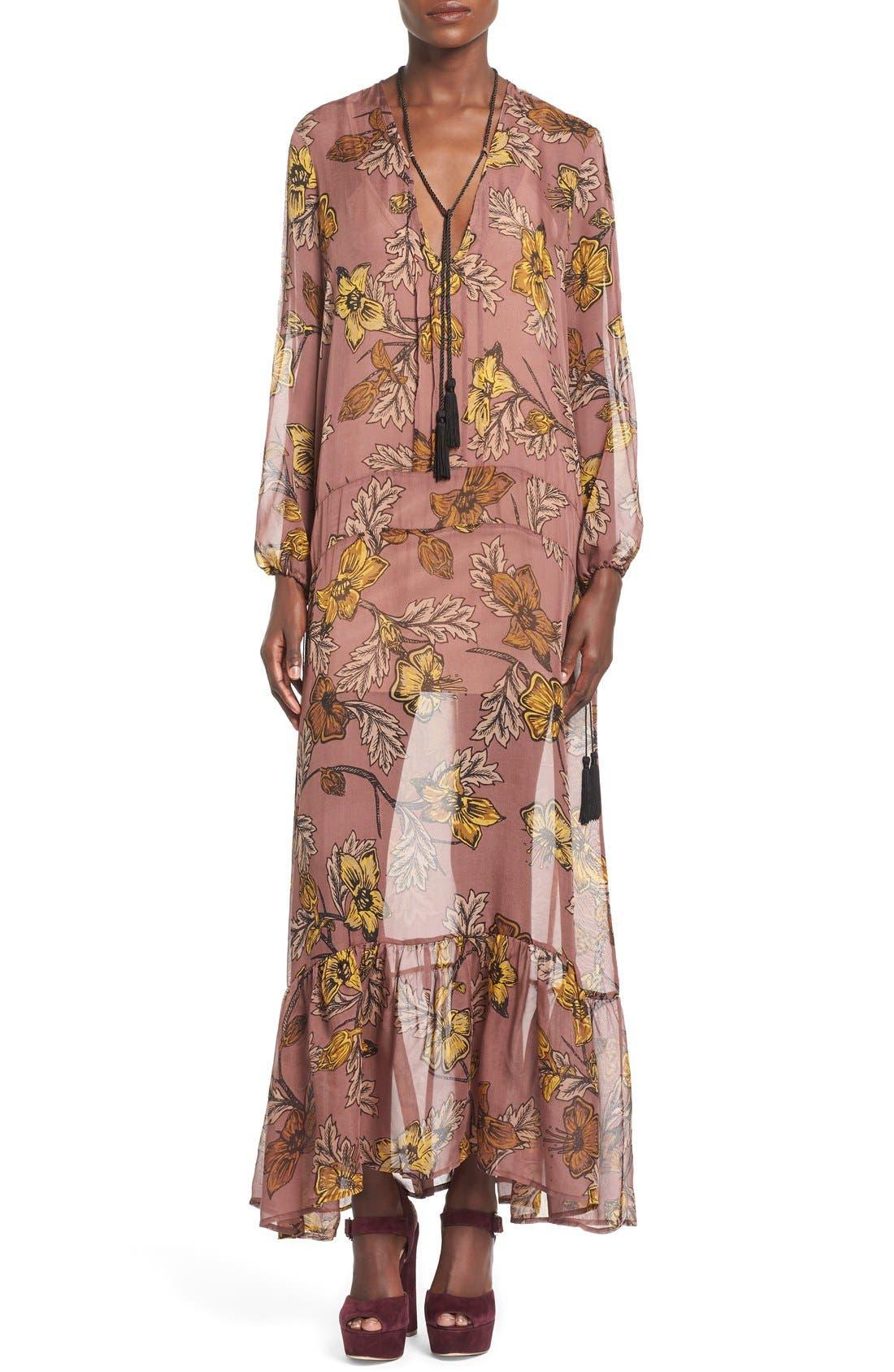'Santa Rosa' Silk Maxi Dress,                             Main thumbnail 1, color,                             660