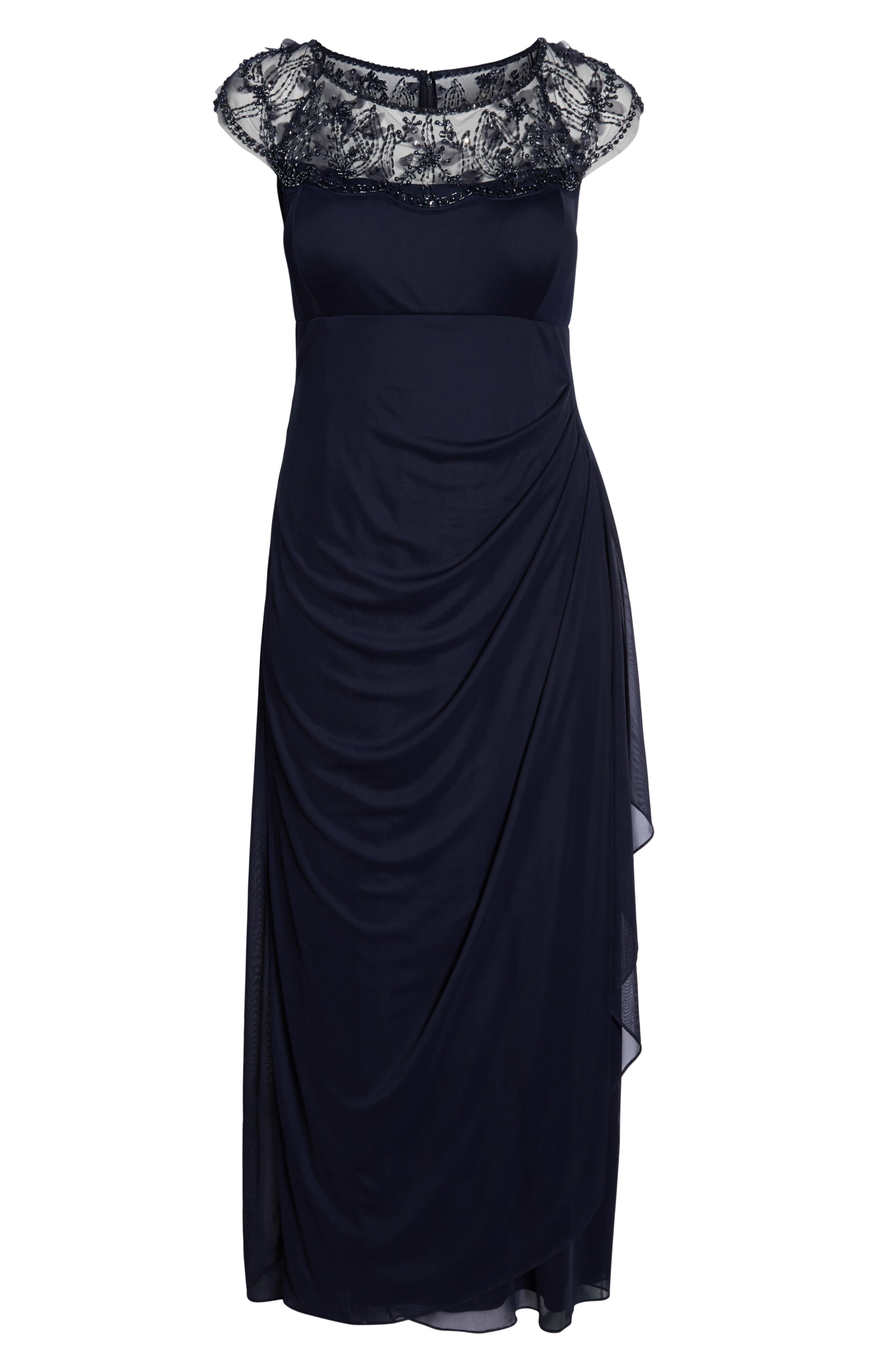 Ruched Side Beaded Gown,                             Alternate thumbnail 6, color,                             NAVY/ NAVY