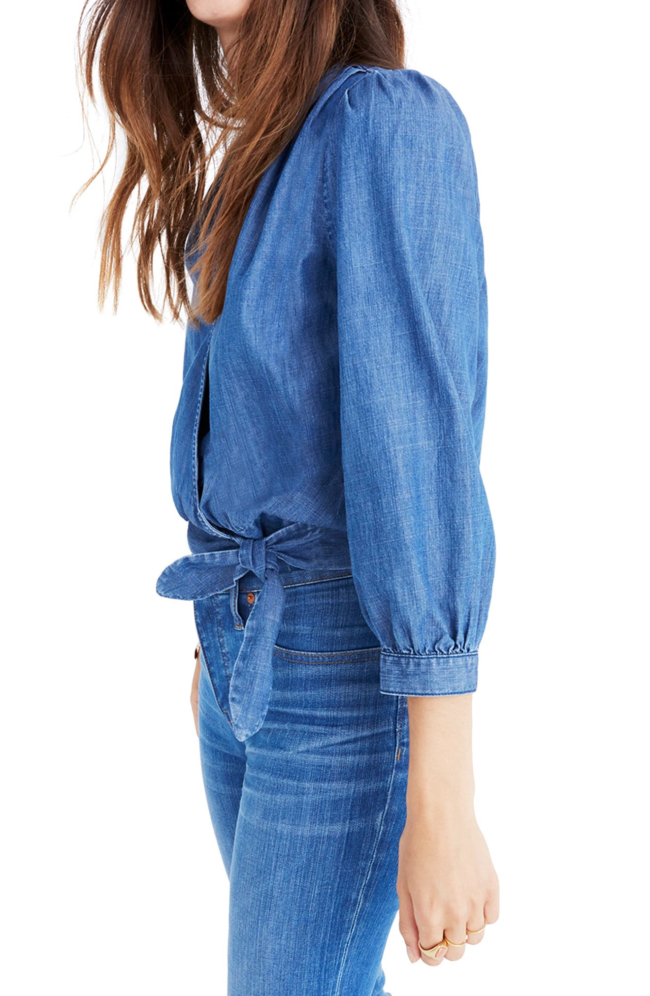Denim Wrap Blouse,                             Alternate thumbnail 3, color,                             DESCANSO WASH
