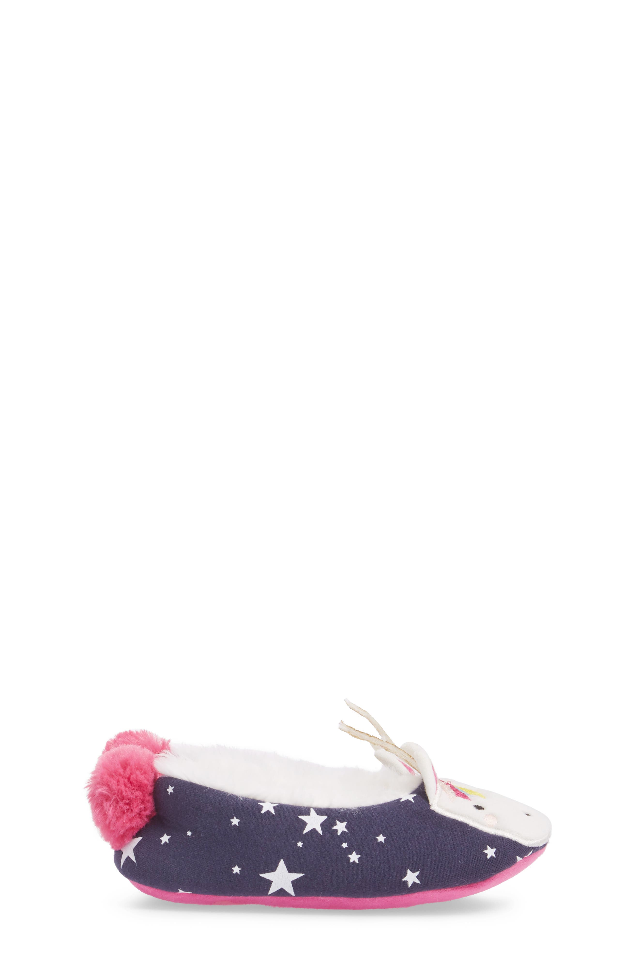 Faux Fur Character Slipper,                             Alternate thumbnail 3, color,                             FRENCH NAVY UNICORN