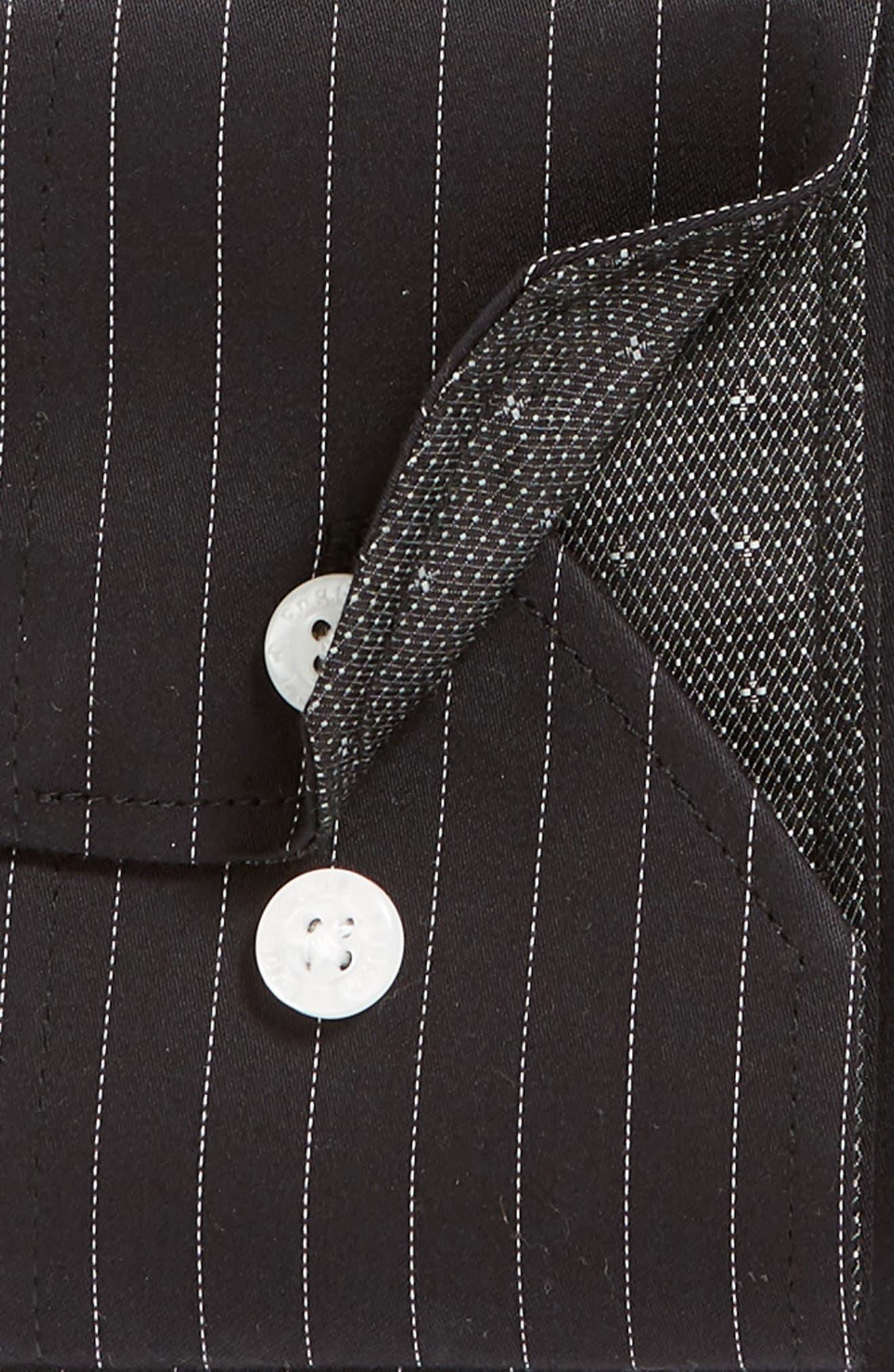 Regular Fit Stretch Stripe Dress Shirt,                             Alternate thumbnail 6, color,                             BLACK