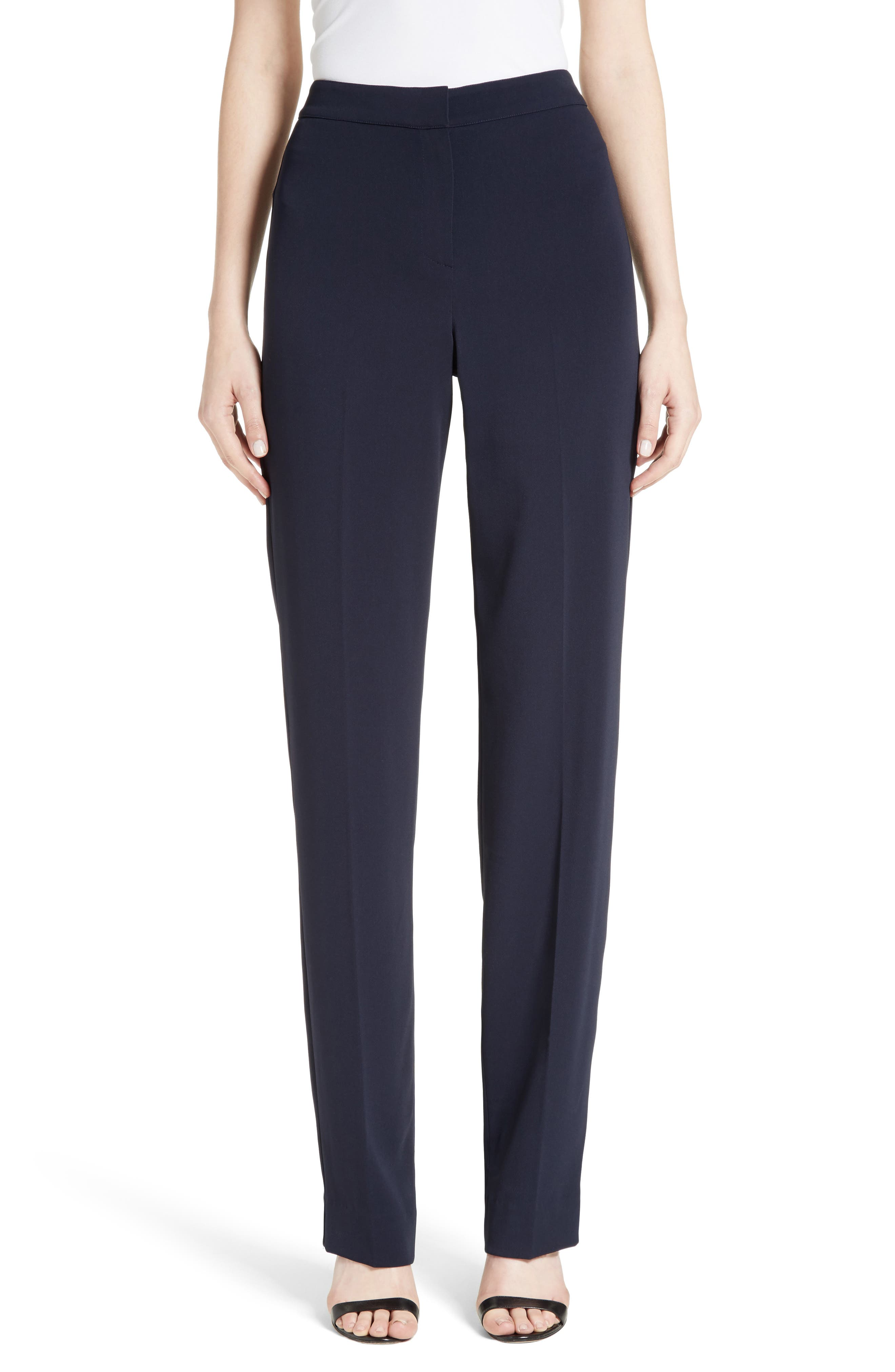 Diana Classic Cady Stretch Pants,                         Main,                         color, NAVY