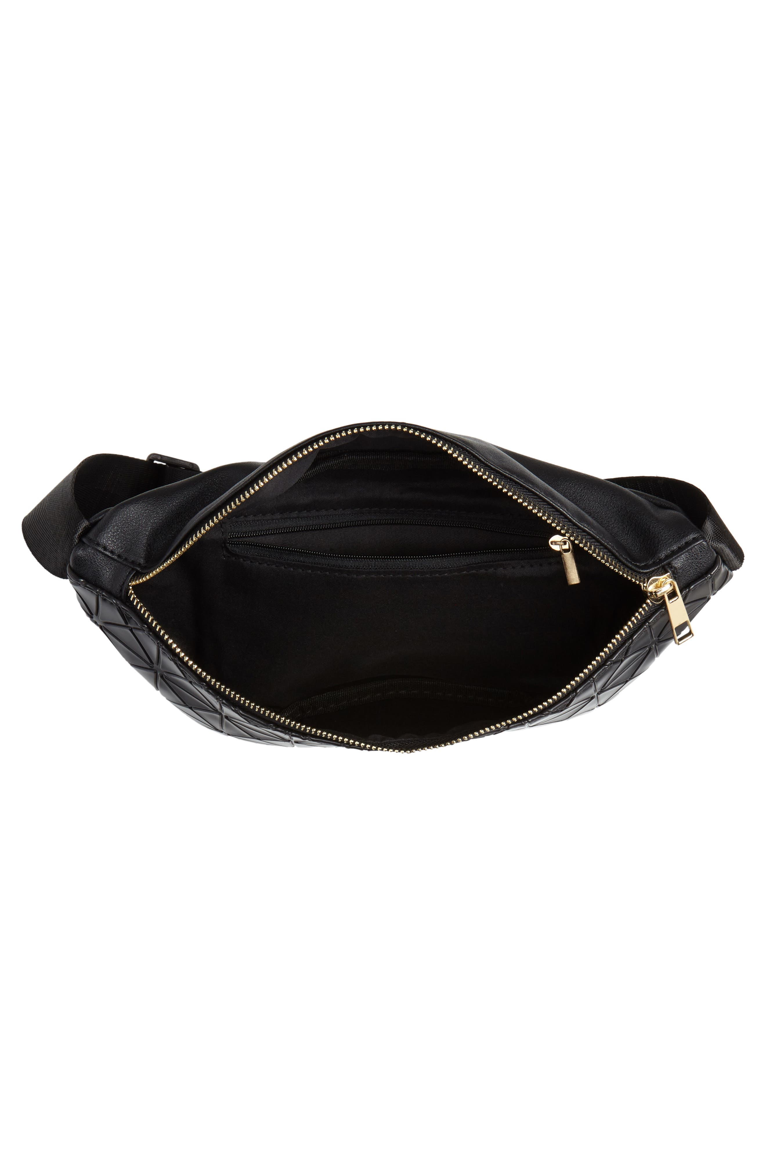 Geometric Detail Faux Leather Belt Bag,                             Alternate thumbnail 5, color,                             BLACK