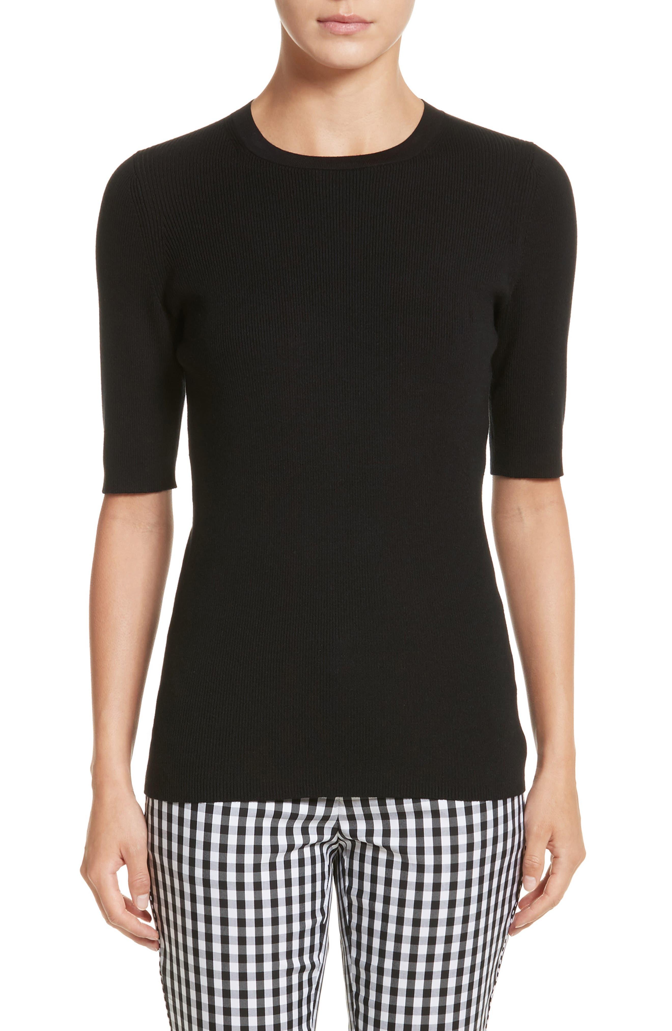 Rib Knit Silk Blend Sweater,                         Main,                         color, 001
