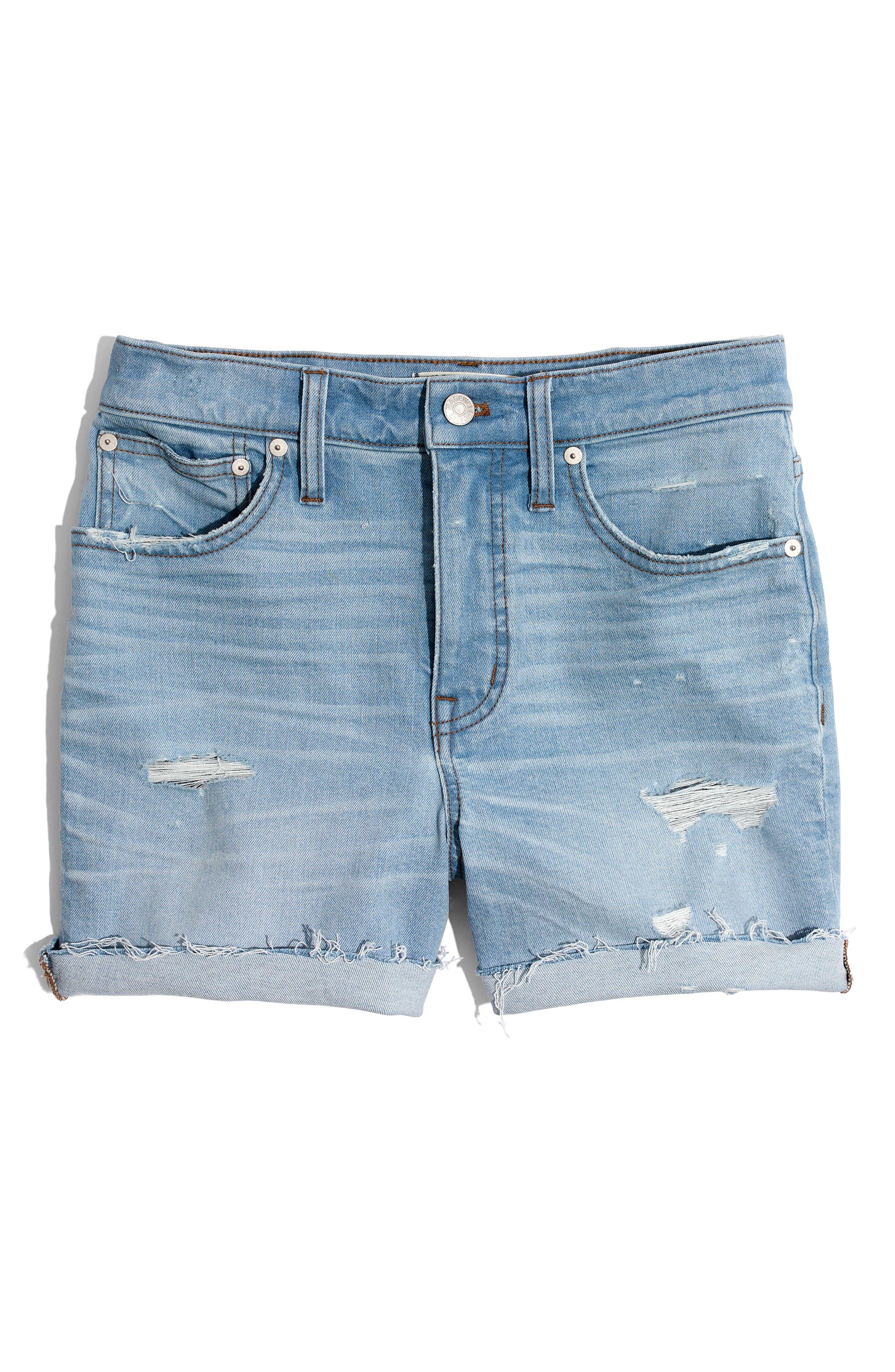 High Waist Denim Cutoff Shorts,                             Alternate thumbnail 3, color,                             400