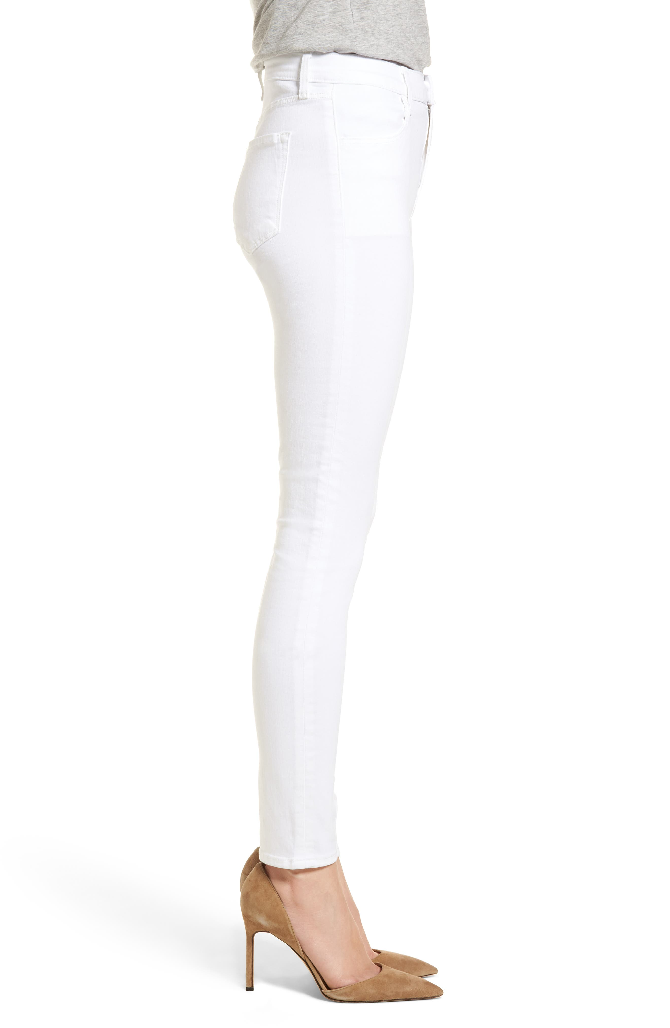 Maria High Waist Skinny Jeans,                             Alternate thumbnail 3, color,                             WHITE