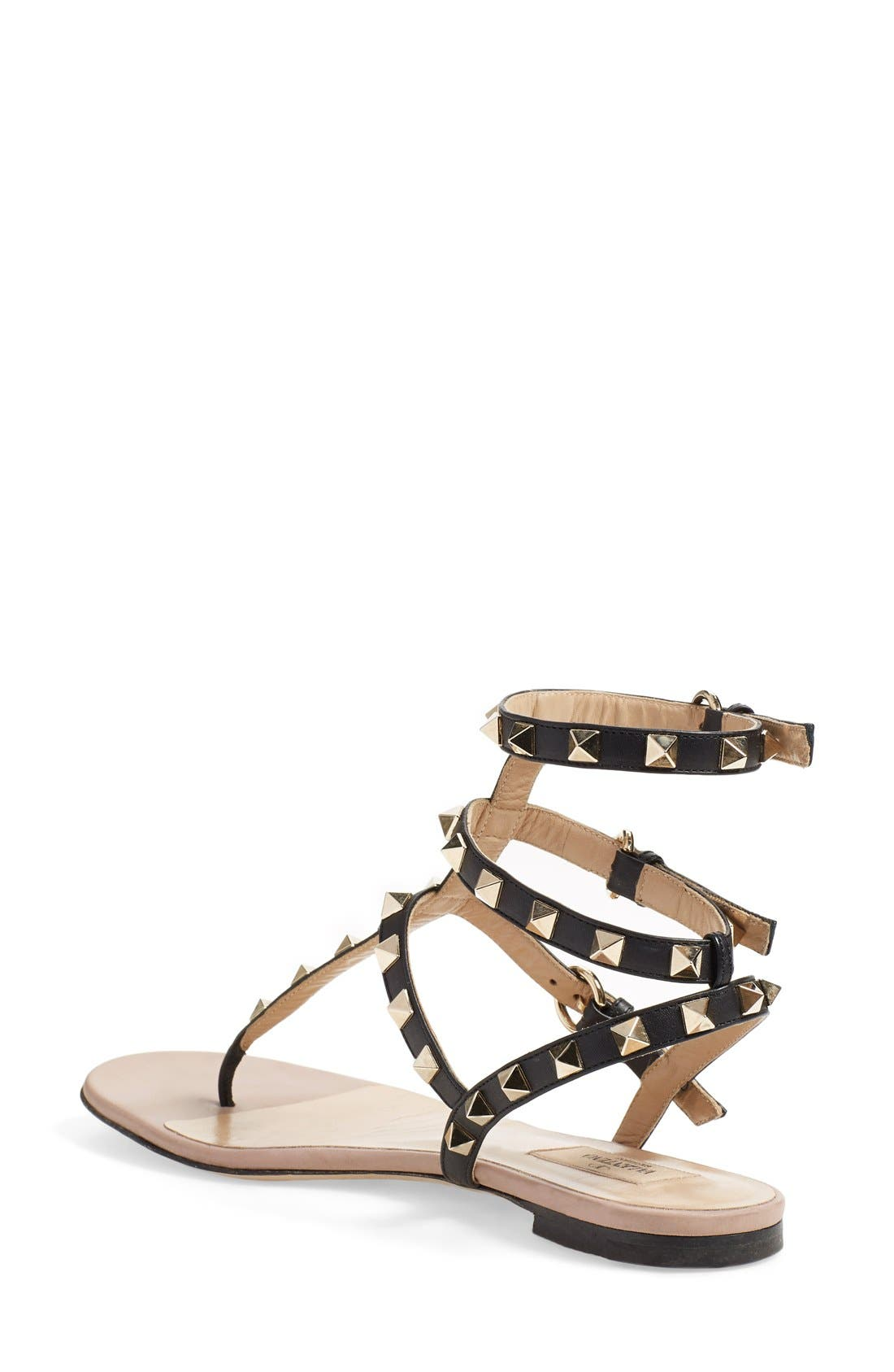 'Rockstud' Sandal,                             Alternate thumbnail 4, color,                             BLACK LEATHER