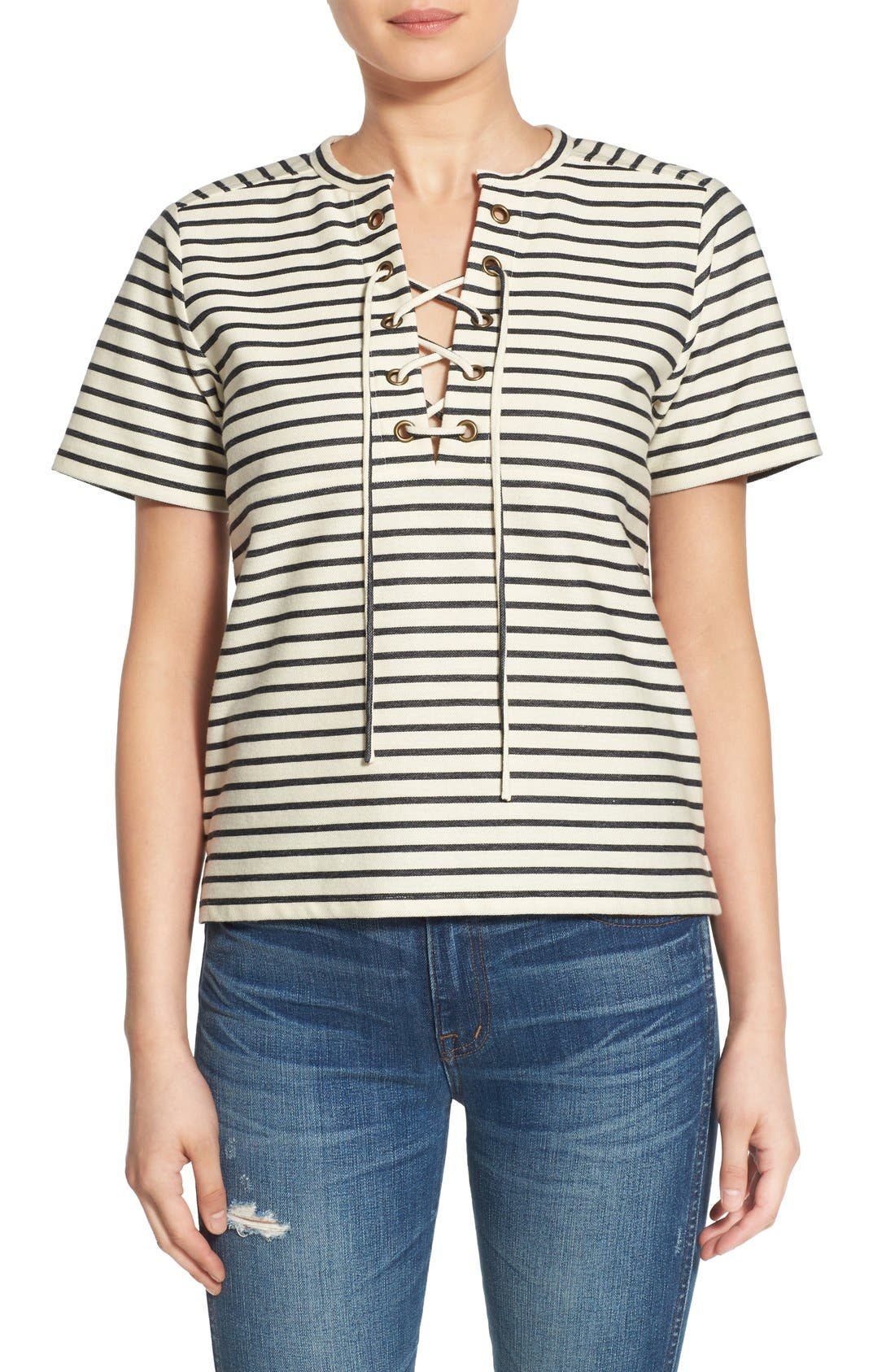 Stripe Lace-Up Top,                             Main thumbnail 1, color,                             900