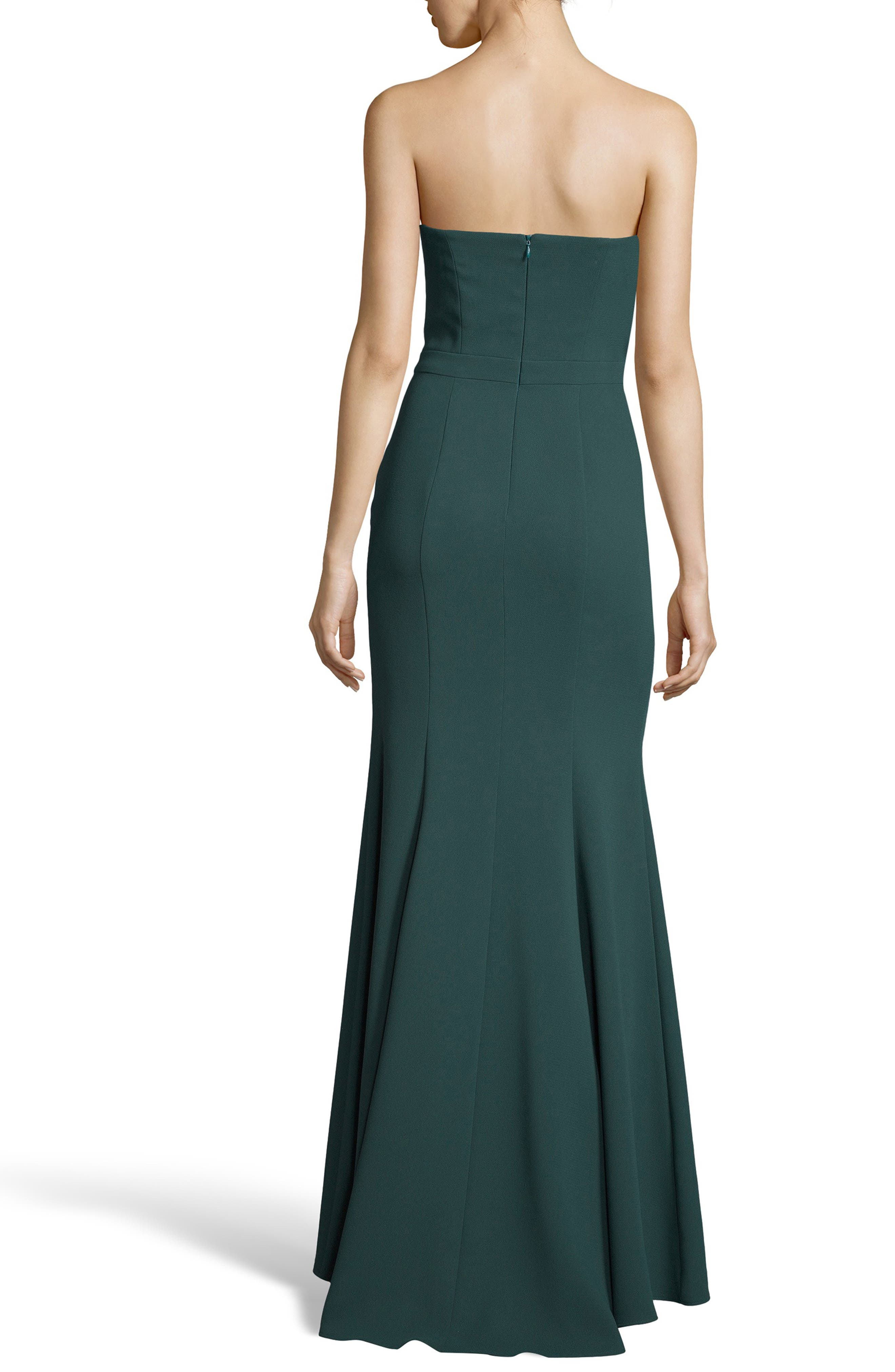 Strapless Crepe Trumpet Gown,                             Alternate thumbnail 2, color,                             HUNTER