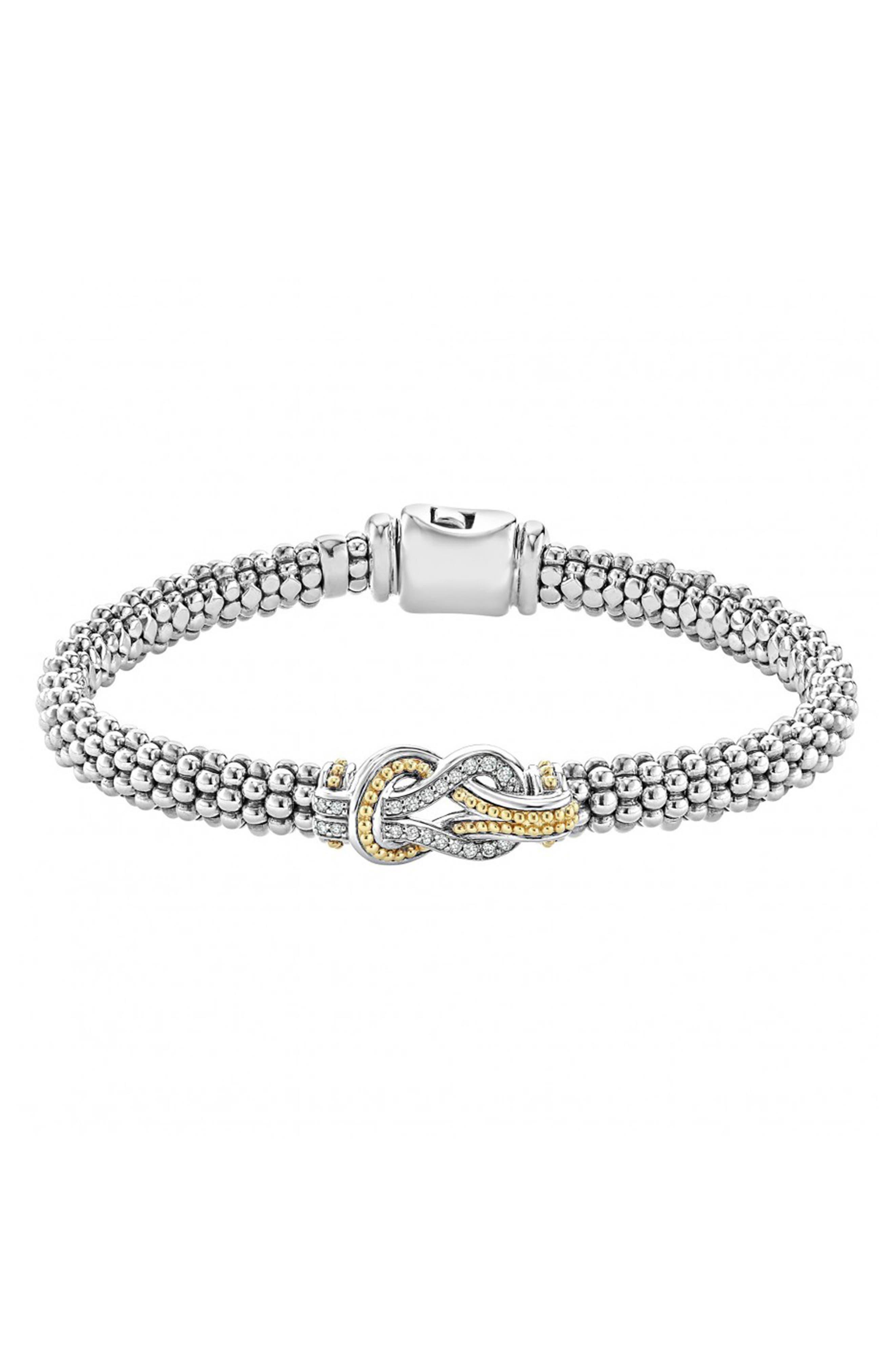 'Newport' Diamond Knot Bracelet,                             Main thumbnail 1, color,                             SILVER/ GOLD