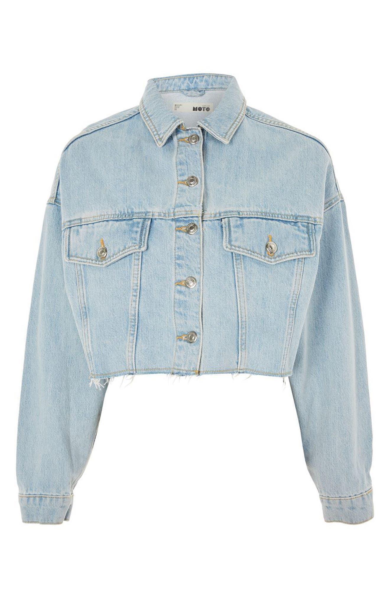 Bleached Cutoff Denim Jacket,                             Alternate thumbnail 5, color,                             420