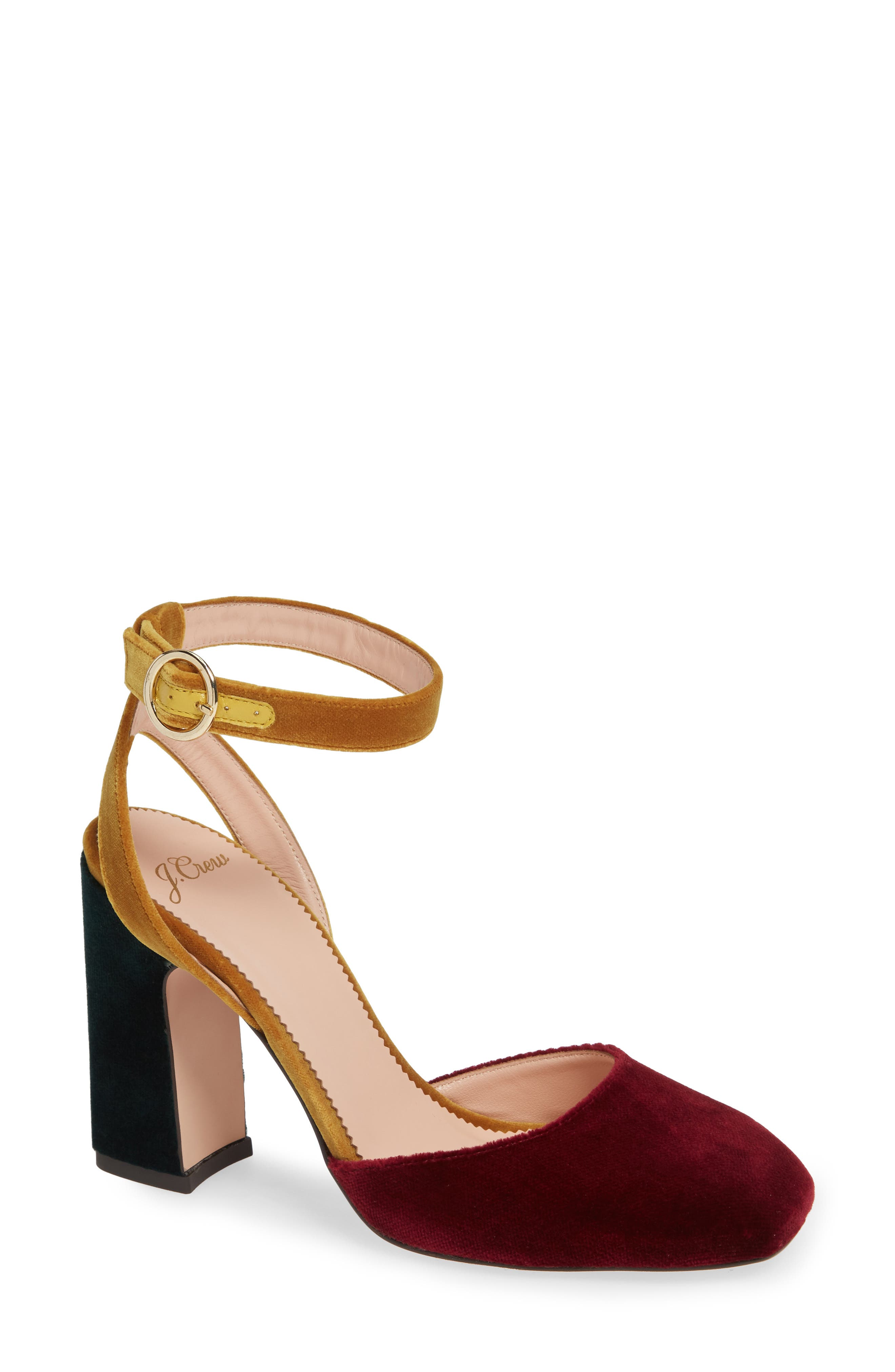 Harlow Ankle Strap Pump,                             Main thumbnail 1, color,                             BURNISHED BEET MIXED VELVET