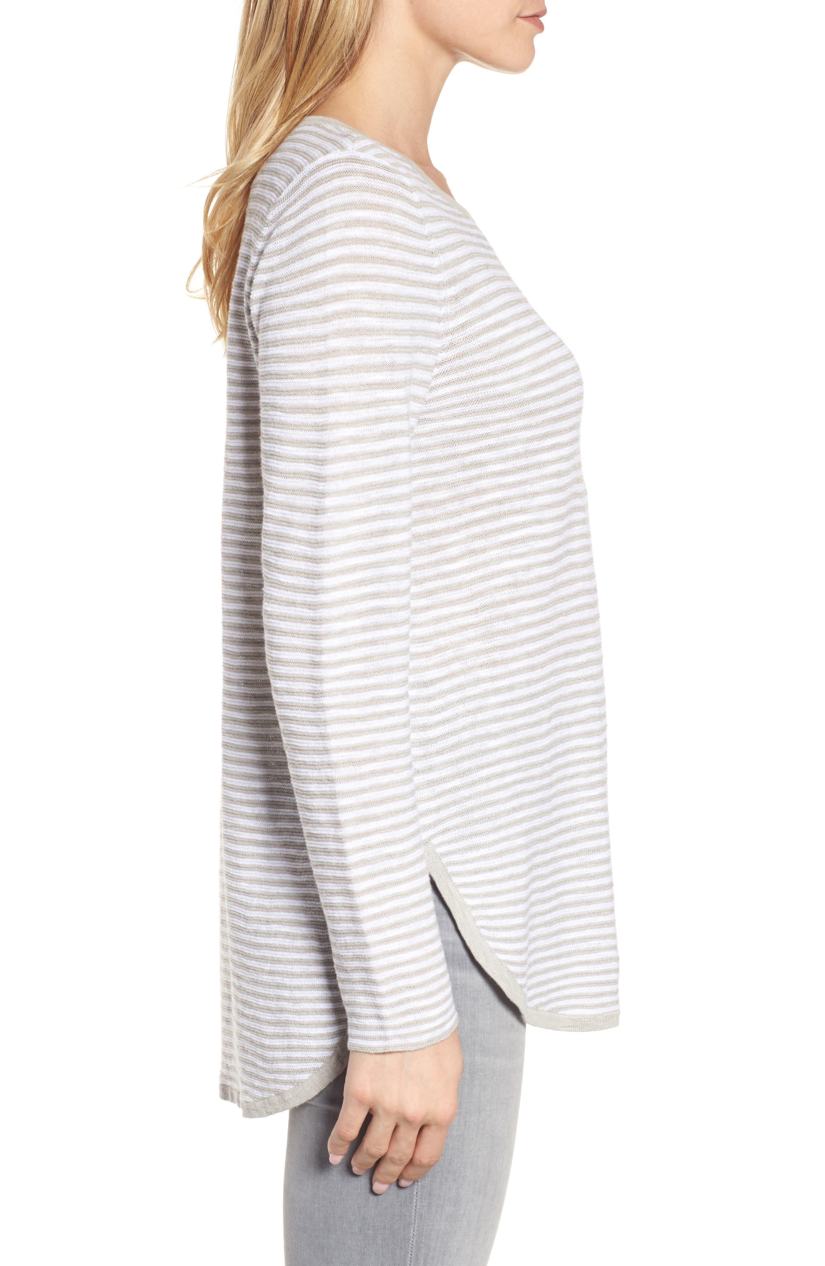 Stripe Organic Linen & Cotton Sweater,                             Alternate thumbnail 3, color,                             192